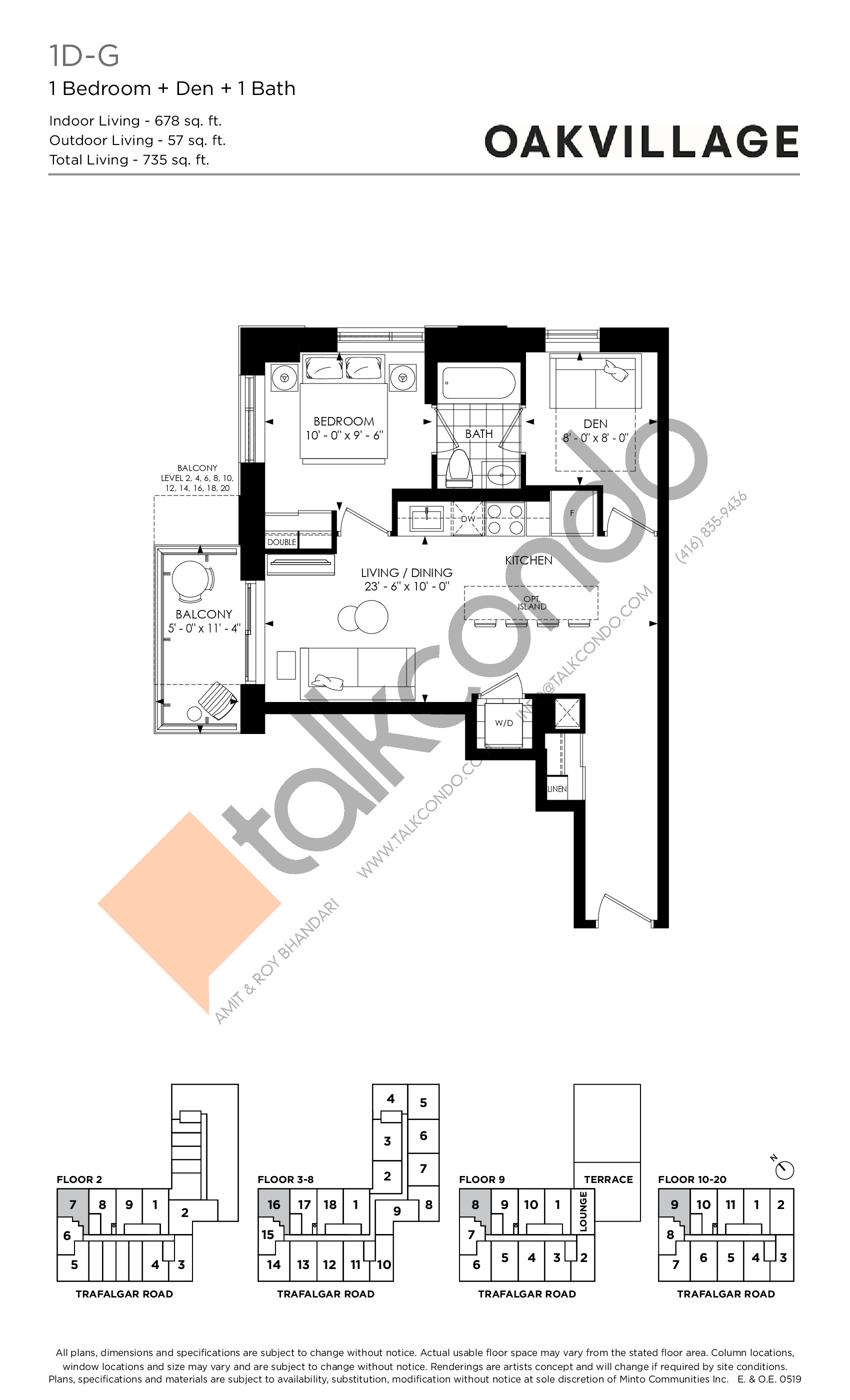 1D-G (Tower) Floor Plan at Oakvillage Phase 2 - 678 sq.ft