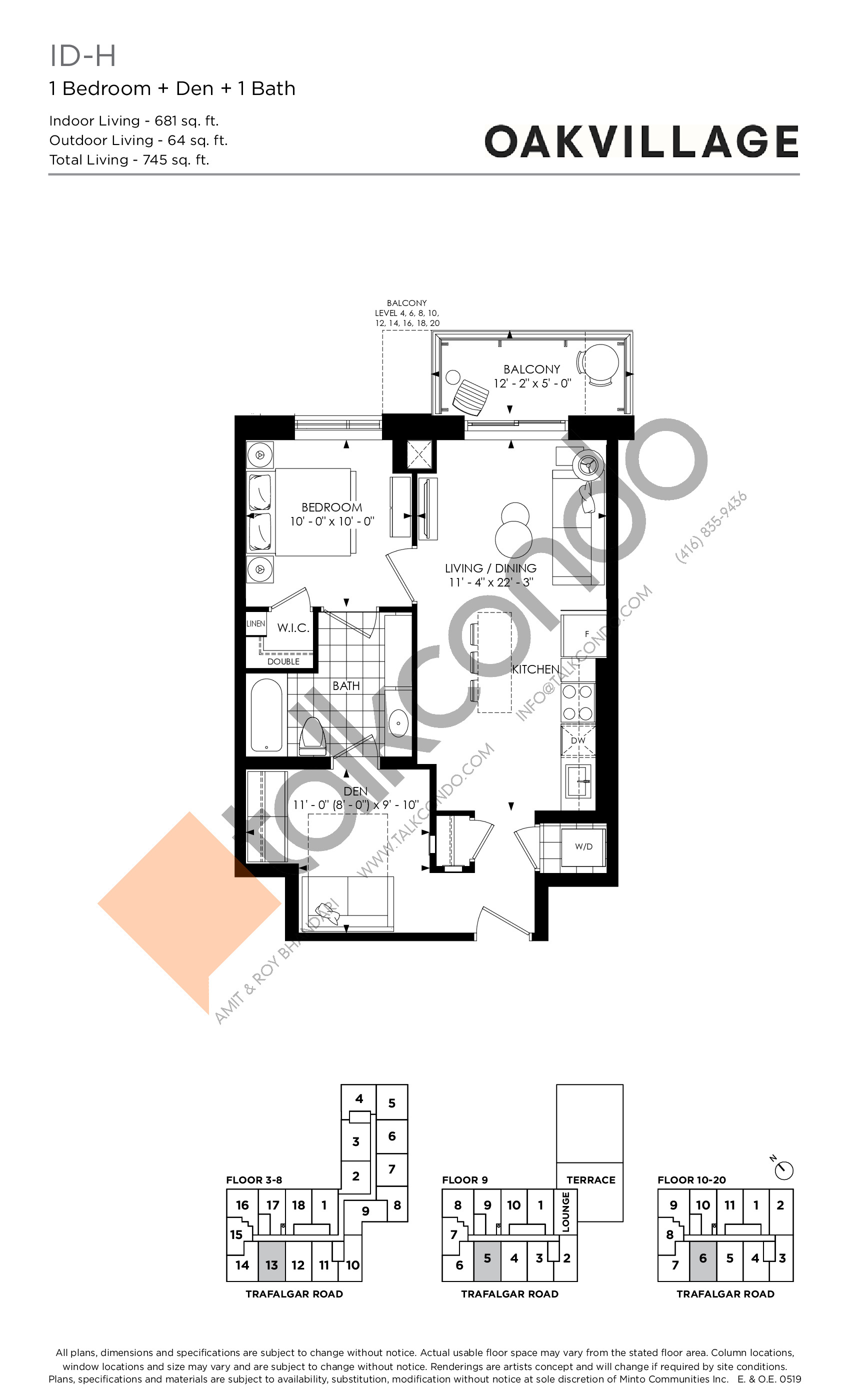 1D-H (Tower) Floor Plan at Oakvillage Phase 2 - 681 sq.ft