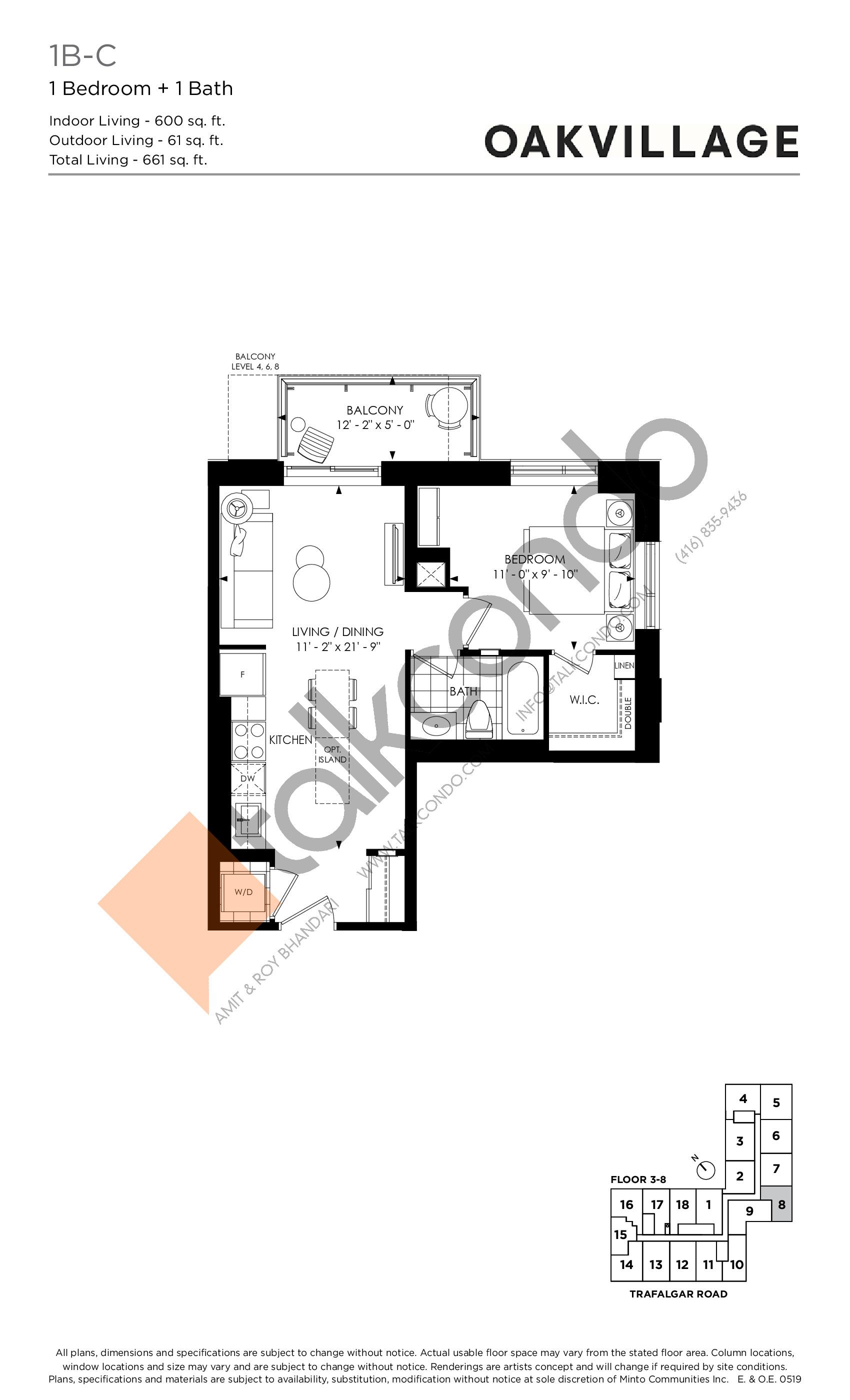 1B-C (Podium) Floor Plan at Oakvillage Phase 2 - 600 sq.ft