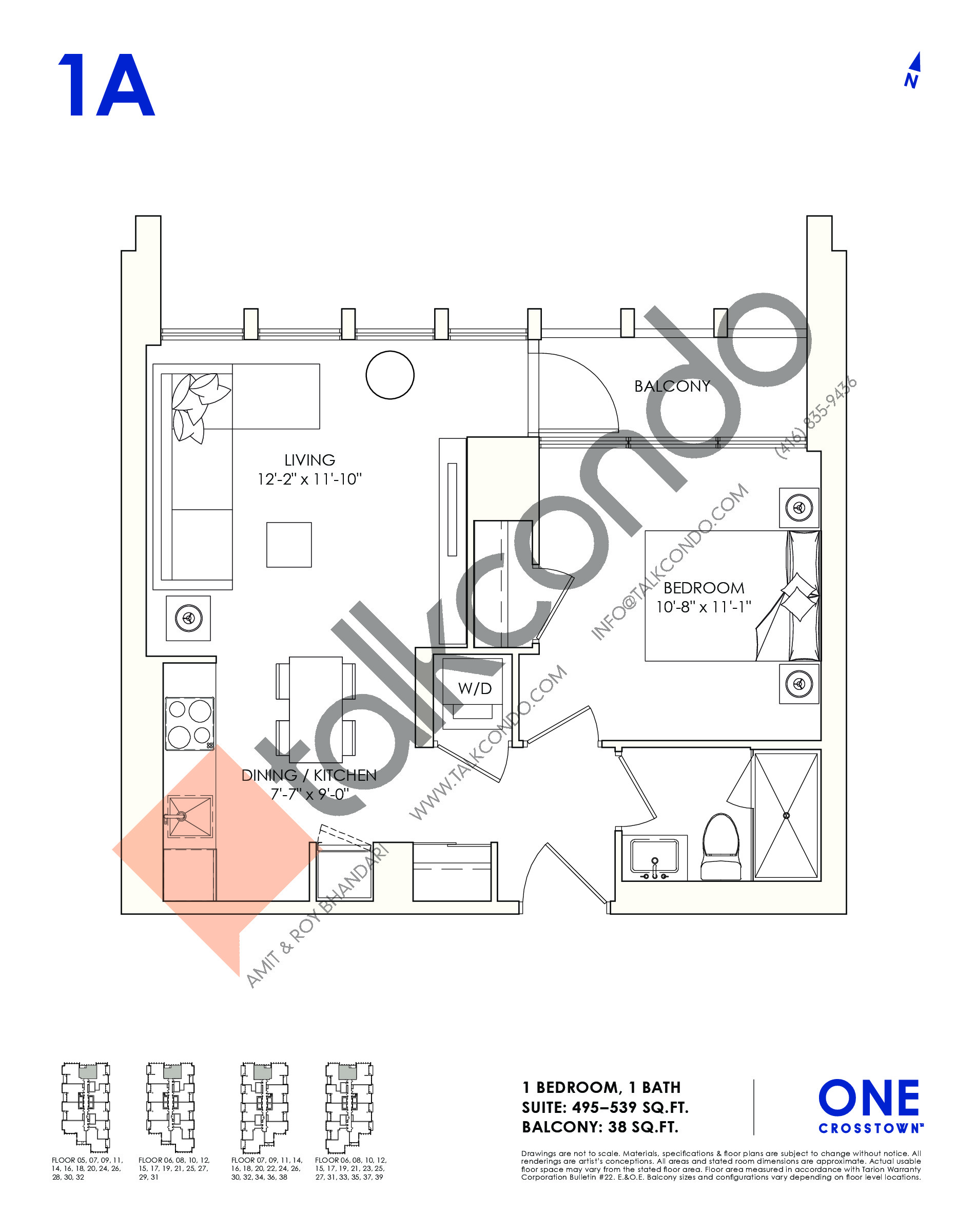 1A Floor Plan at One Crosstown Condos - 539 sq.ft