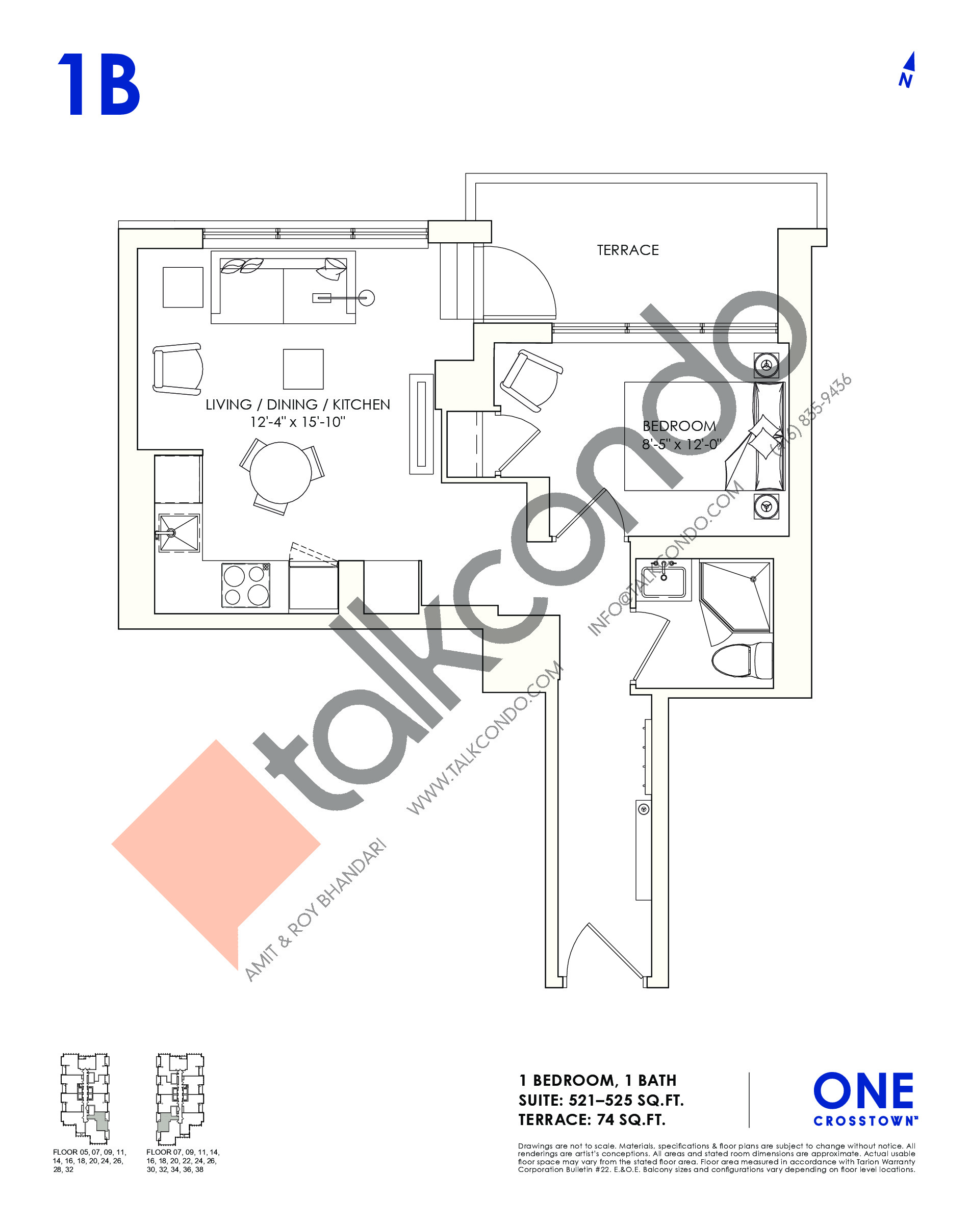 1B Floor Plan at One Crosstown Condos - 525 sq.ft
