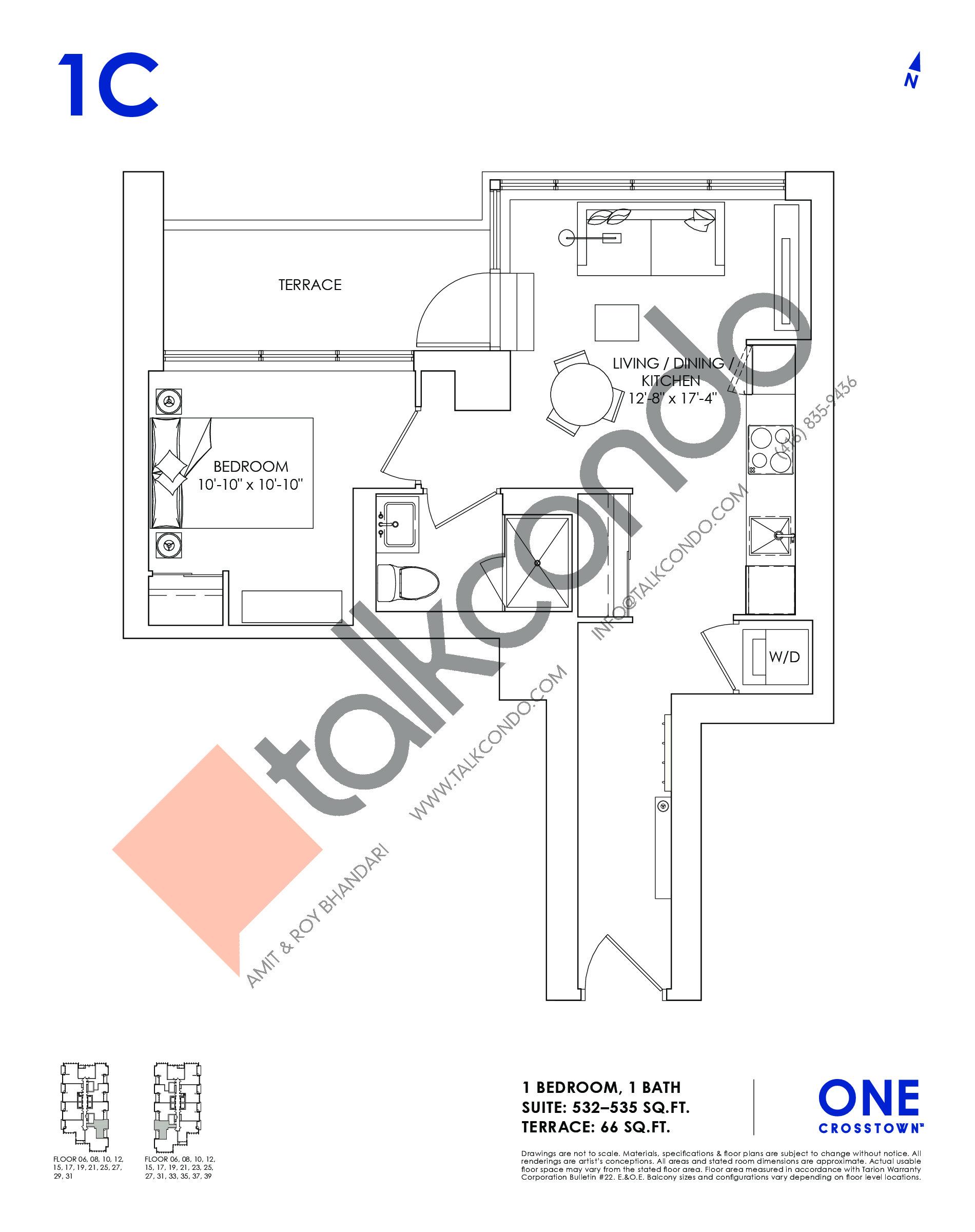 1C Floor Plan at One Crosstown Condos - 535 sq.ft