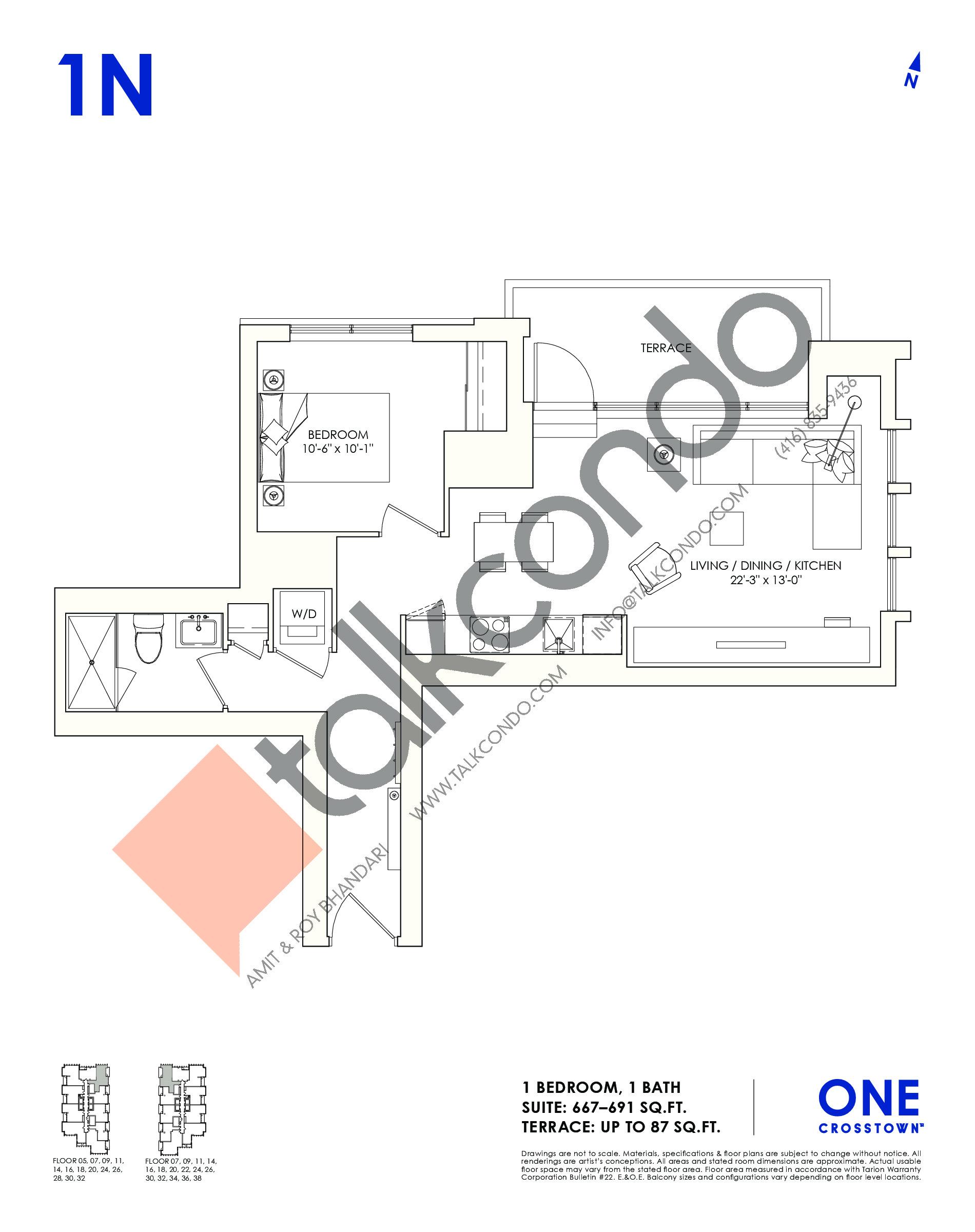 1N Floor Plan at One Crosstown Condos - 691 sq.ft