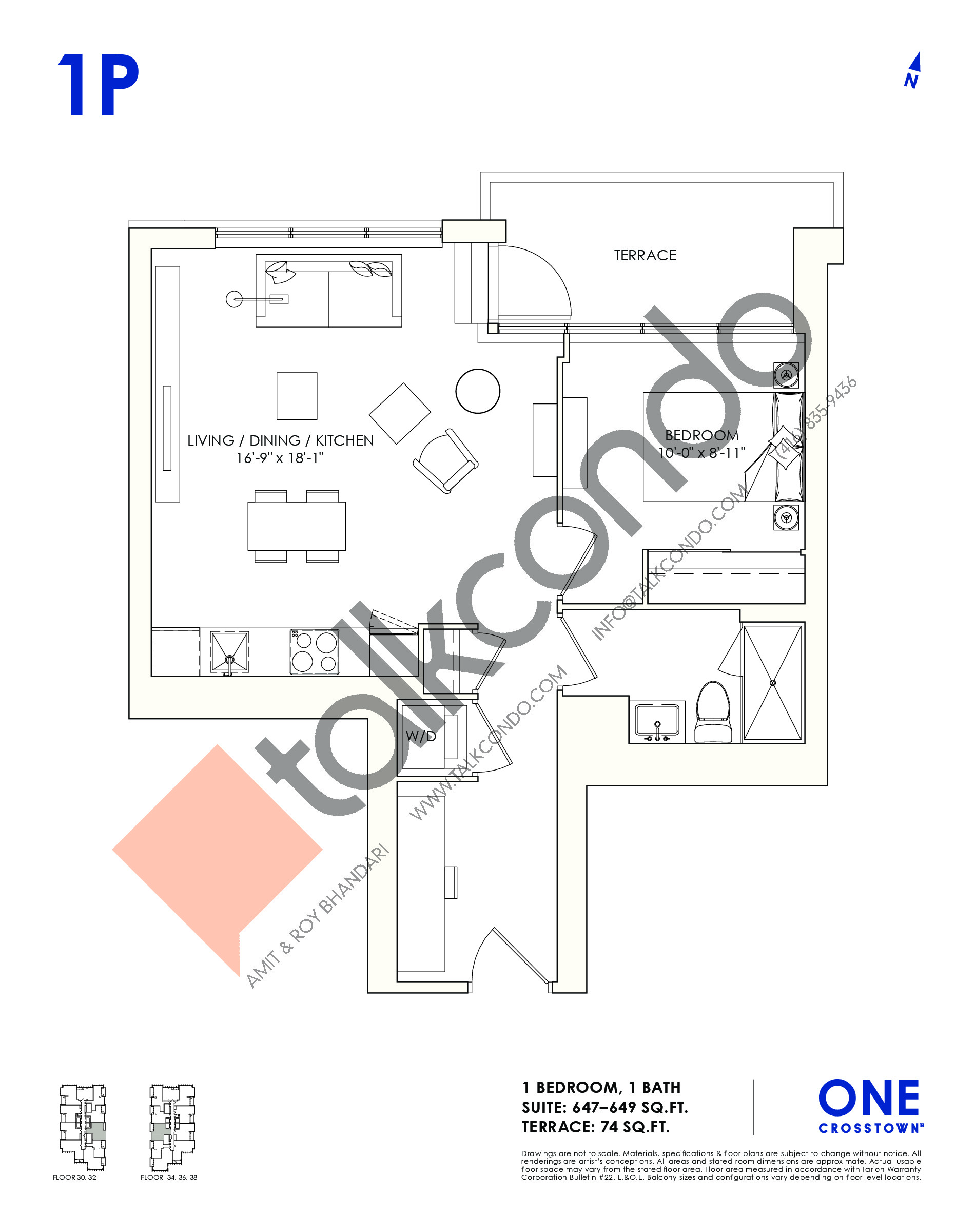 1P Floor Plan at One Crosstown Condos - 649 sq.ft