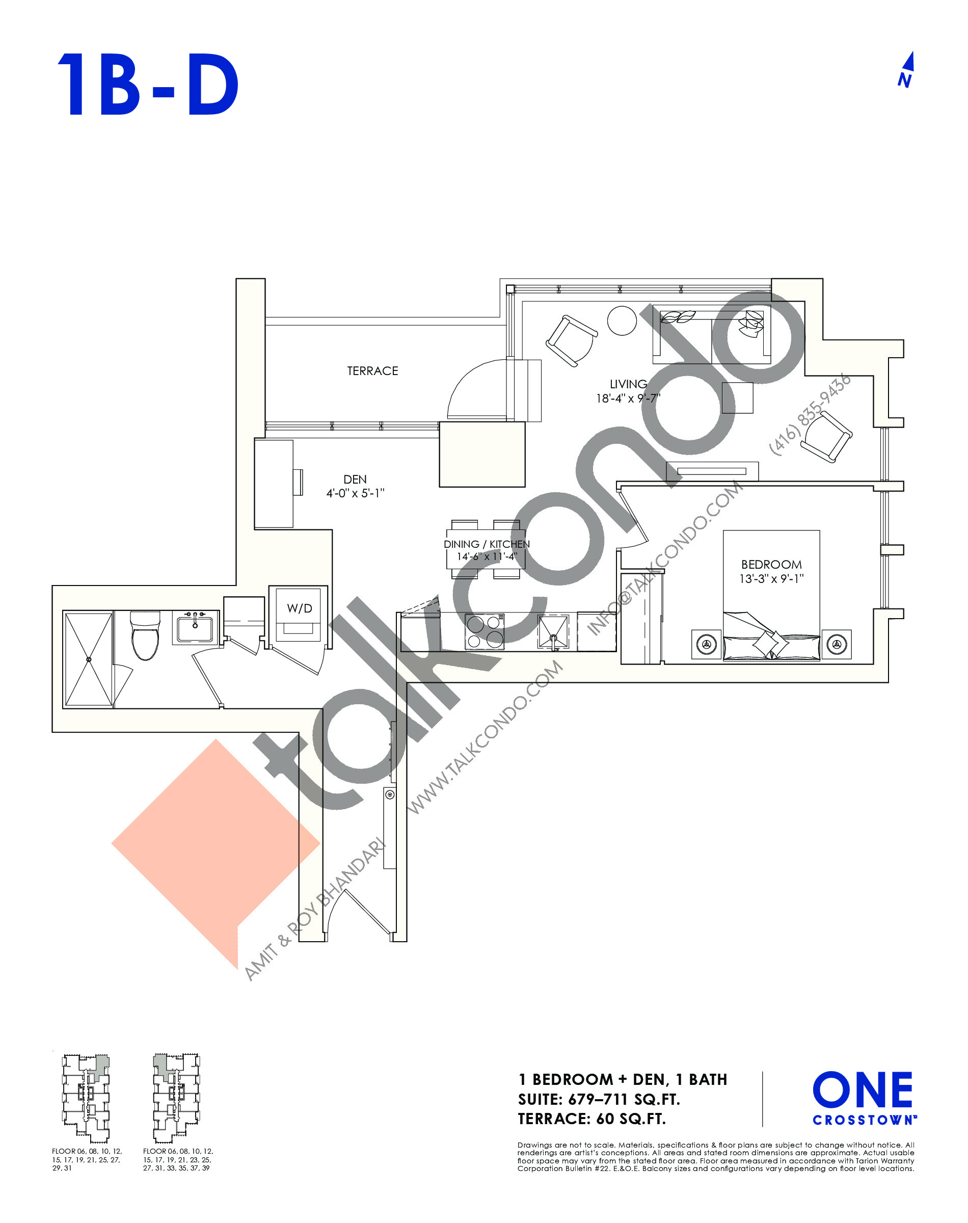 1B-D Floor Plan at One Crosstown Condos - 711 sq.ft