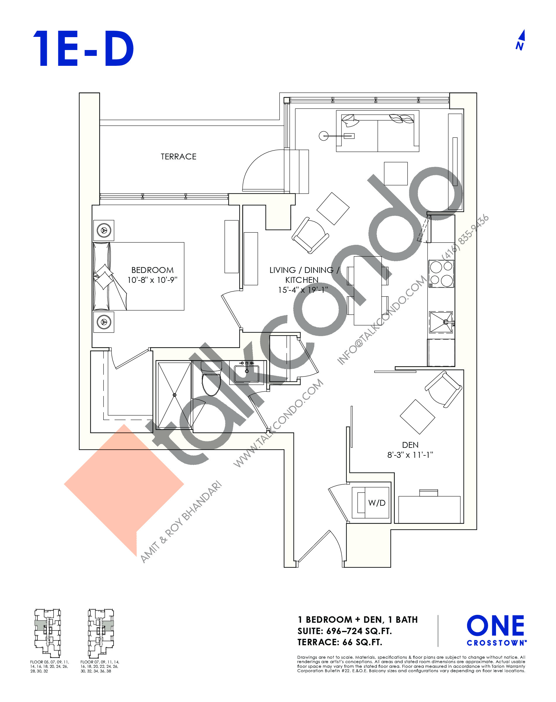 1E-D Floor Plan at One Crosstown Condos - 724 sq.ft