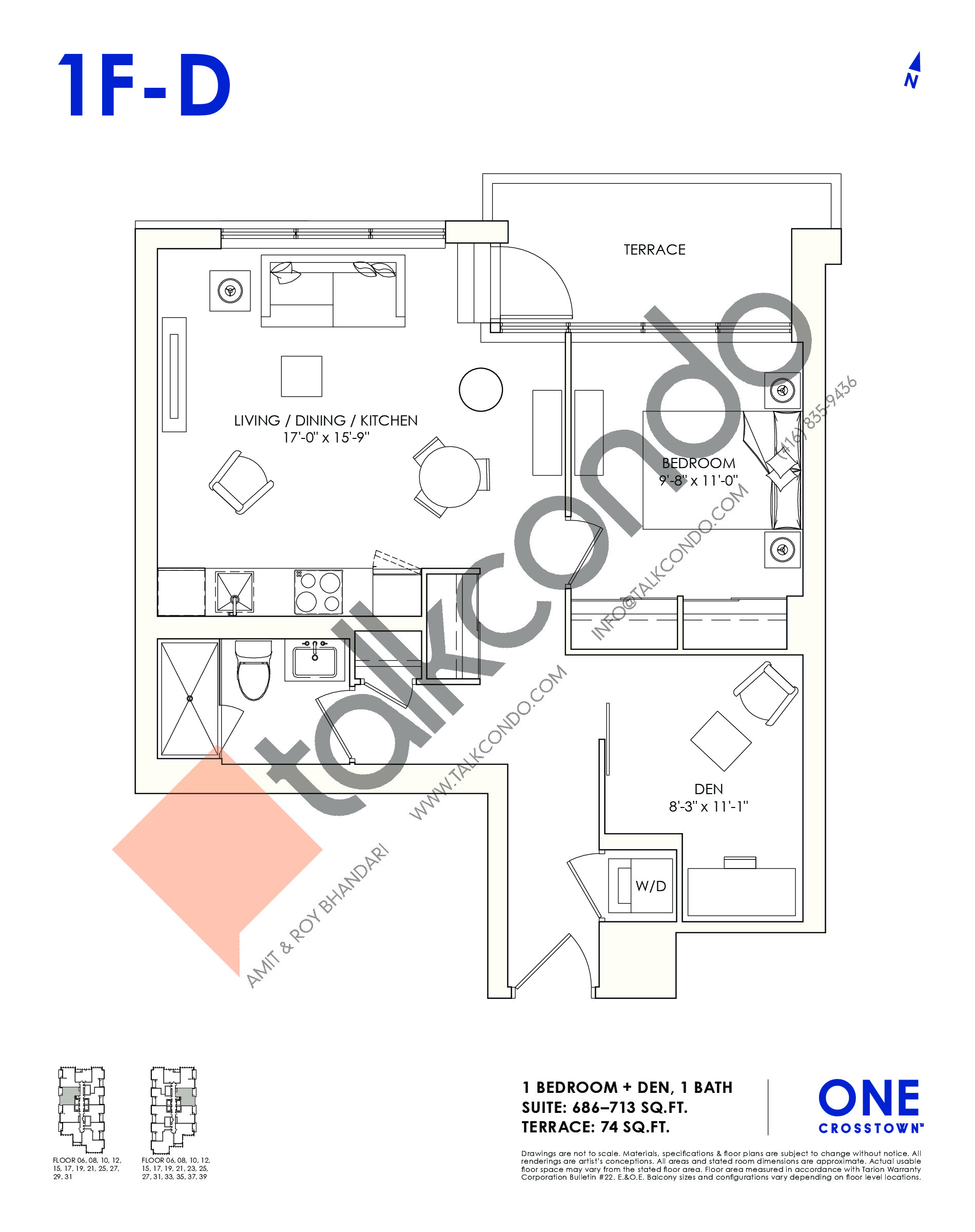 1F-D Floor Plan at One Crosstown Condos - 713 sq.ft
