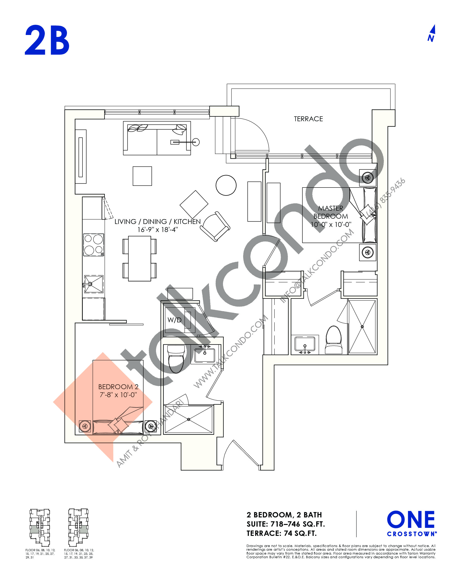 2B Floor Plan at One Crosstown Condos - 746 sq.ft