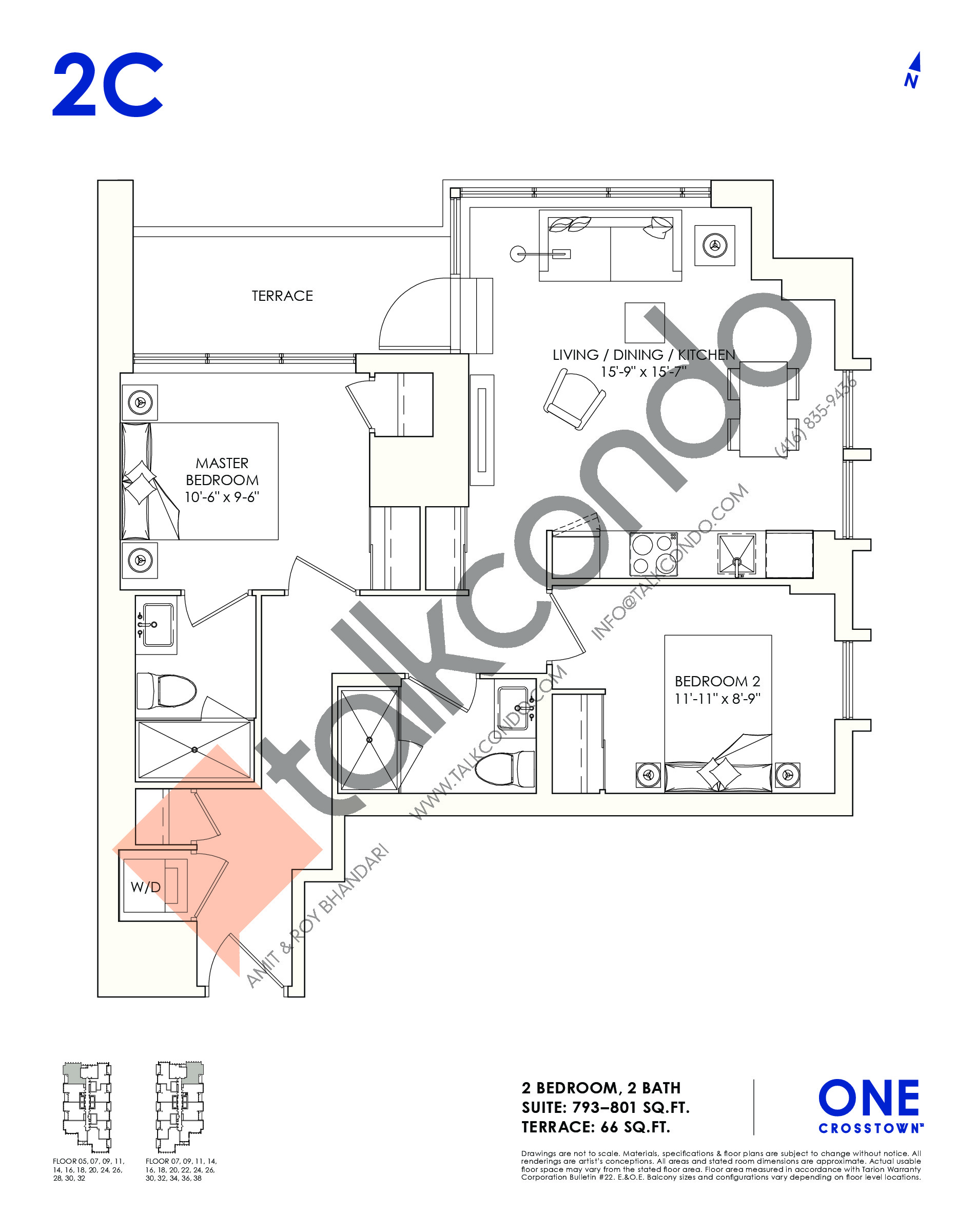 2C Floor Plan at One Crosstown Condos - 801 sq.ft