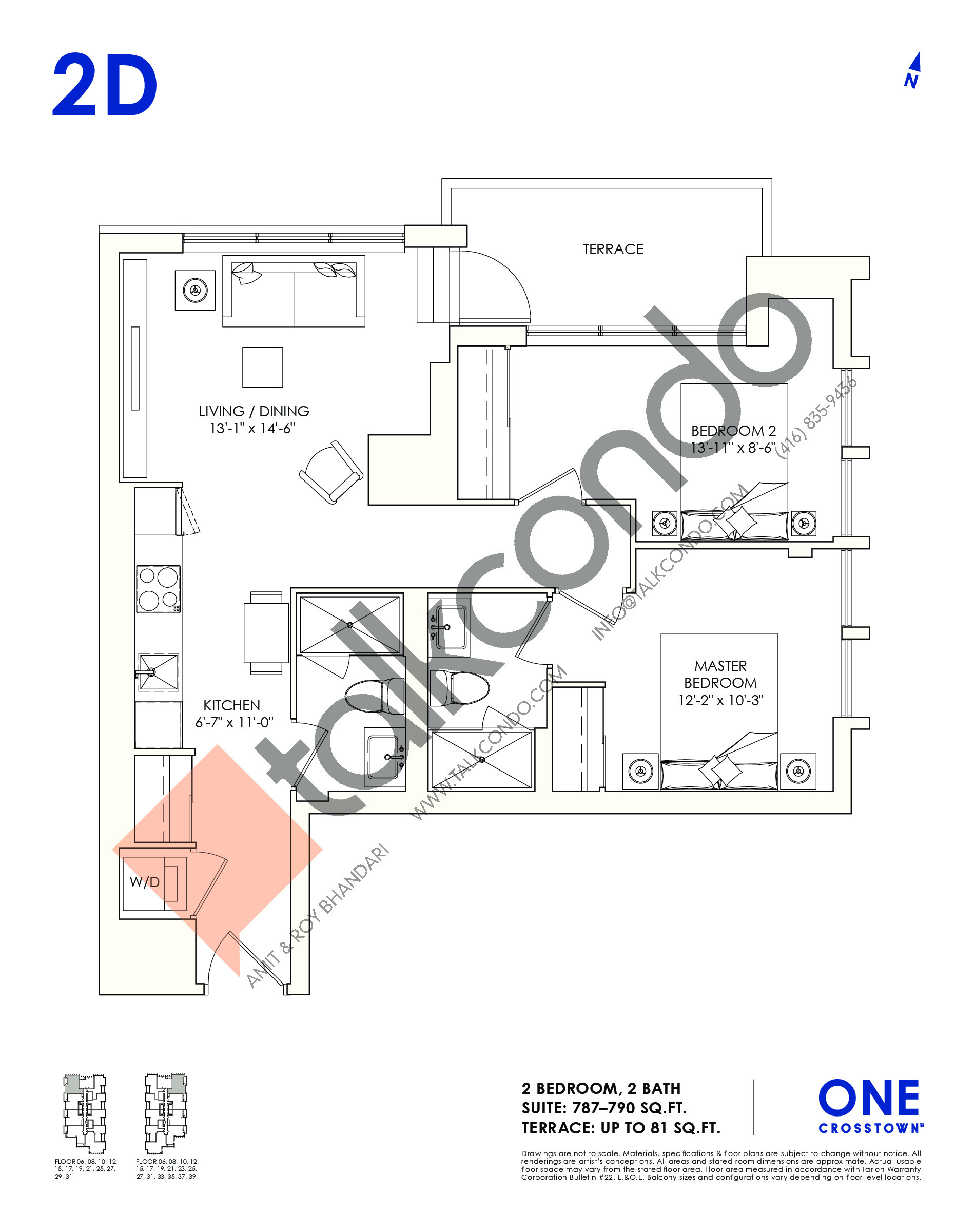 2D Floor Plan at One Crosstown Condos - 790 sq.ft