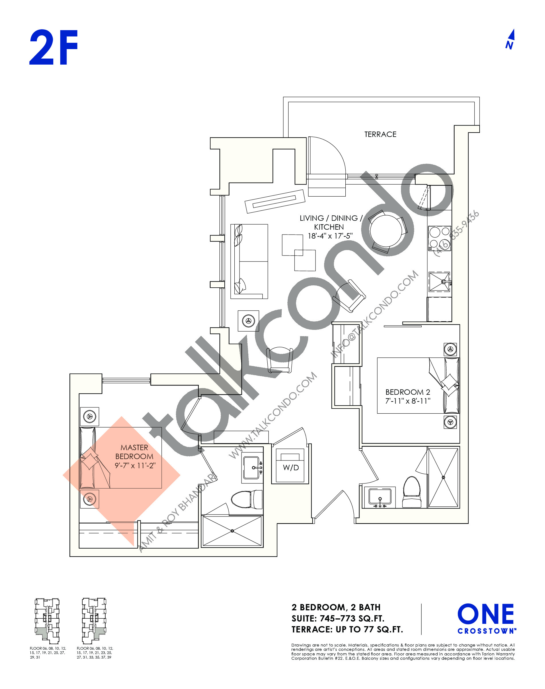 2F Floor Plan at One Crosstown Condos - 773 sq.ft