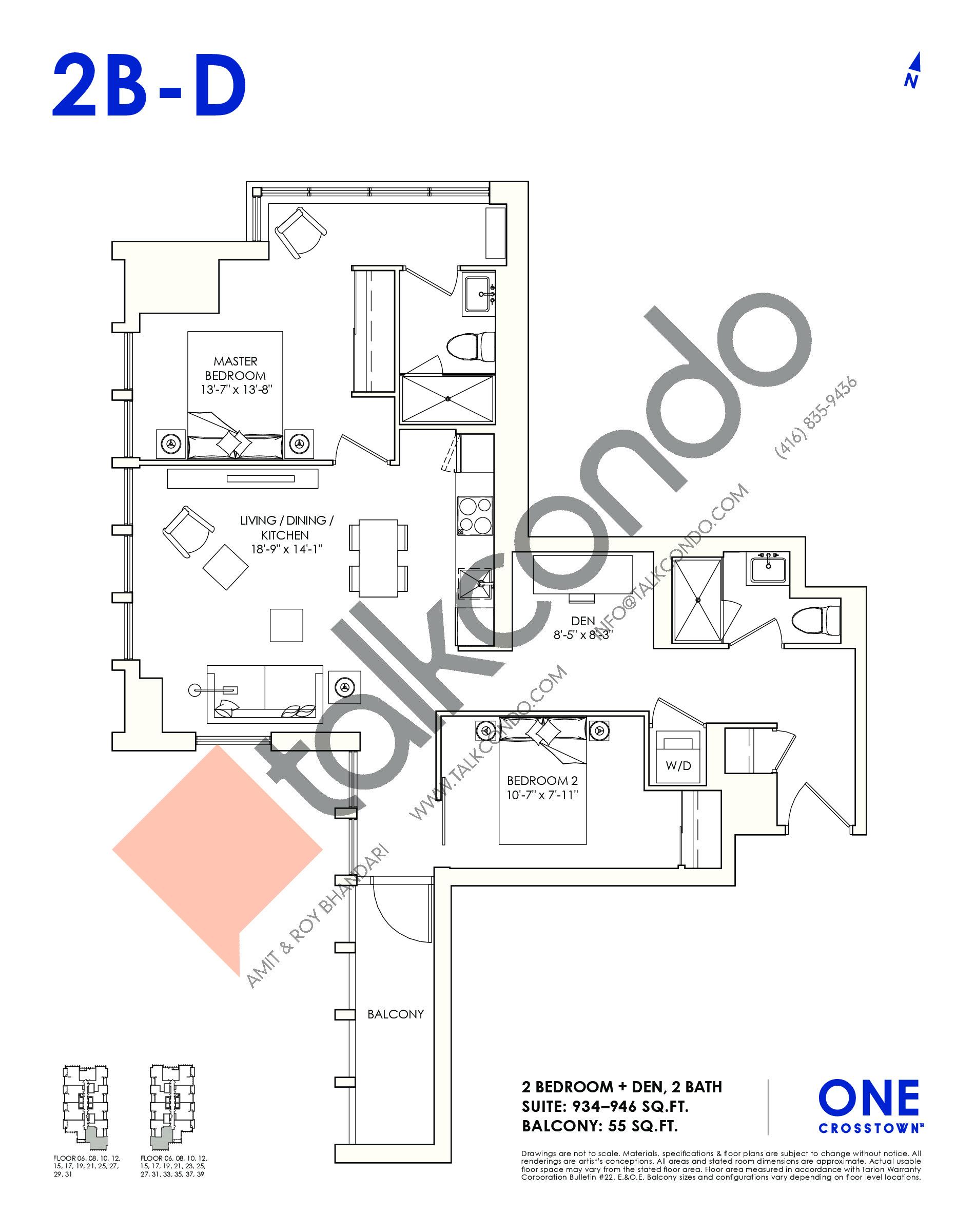2B-D Floor Plan at One Crosstown Condos - 946 sq.ft