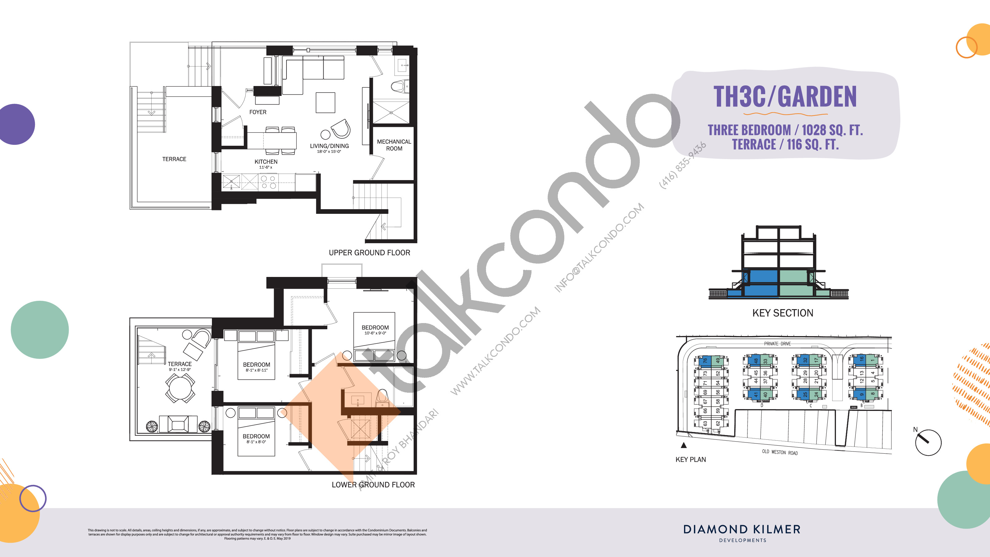 TH3C/Garden Floor Plan at Reunion Crossing Condos & Urban Towns - 1028 sq.ft