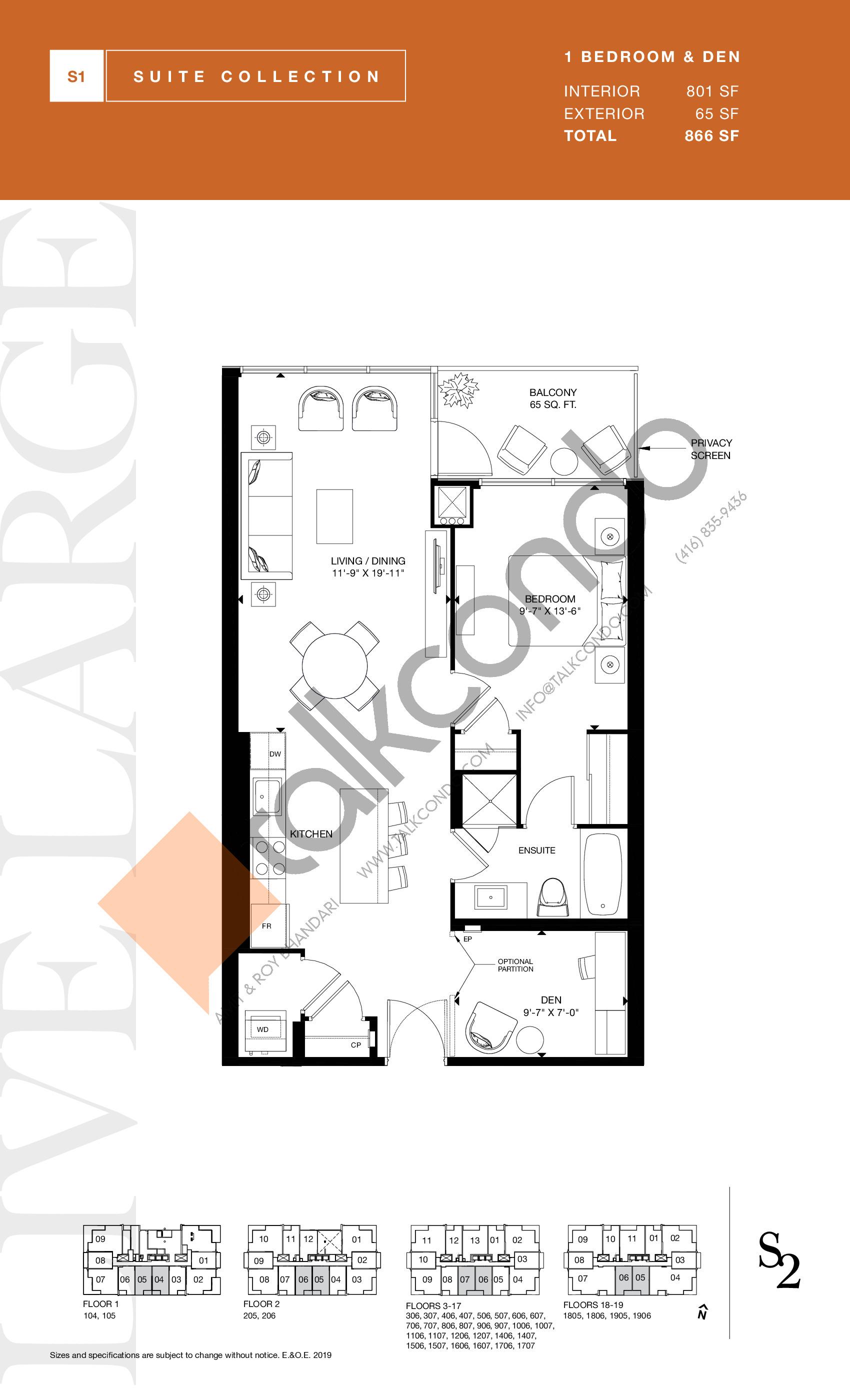 801 Floor Plan at S2 at Stonebrook Condos - 801 sq.ft