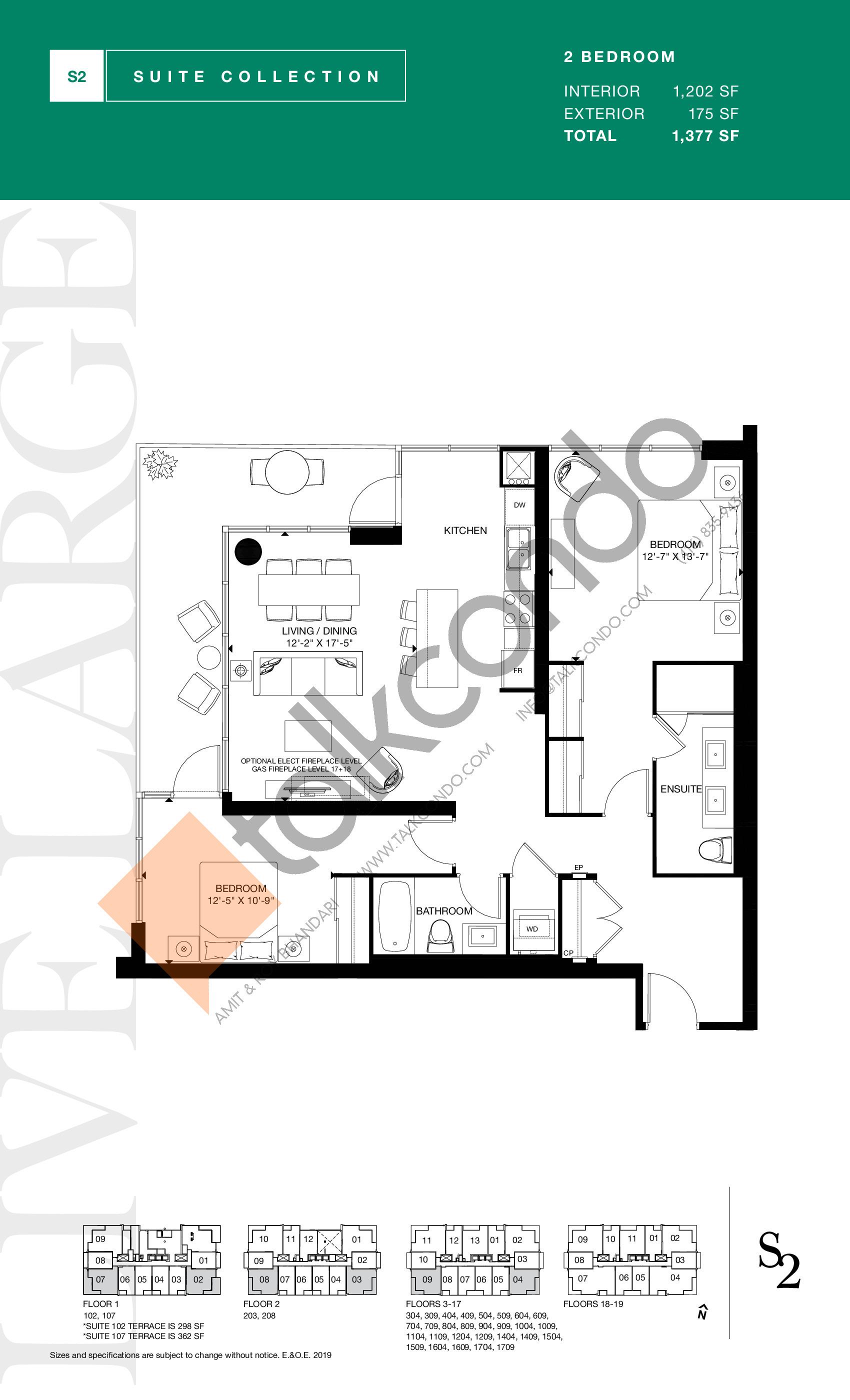 1202 Floor Plan at S2 at Stonebrook Condos - 1202 sq.ft