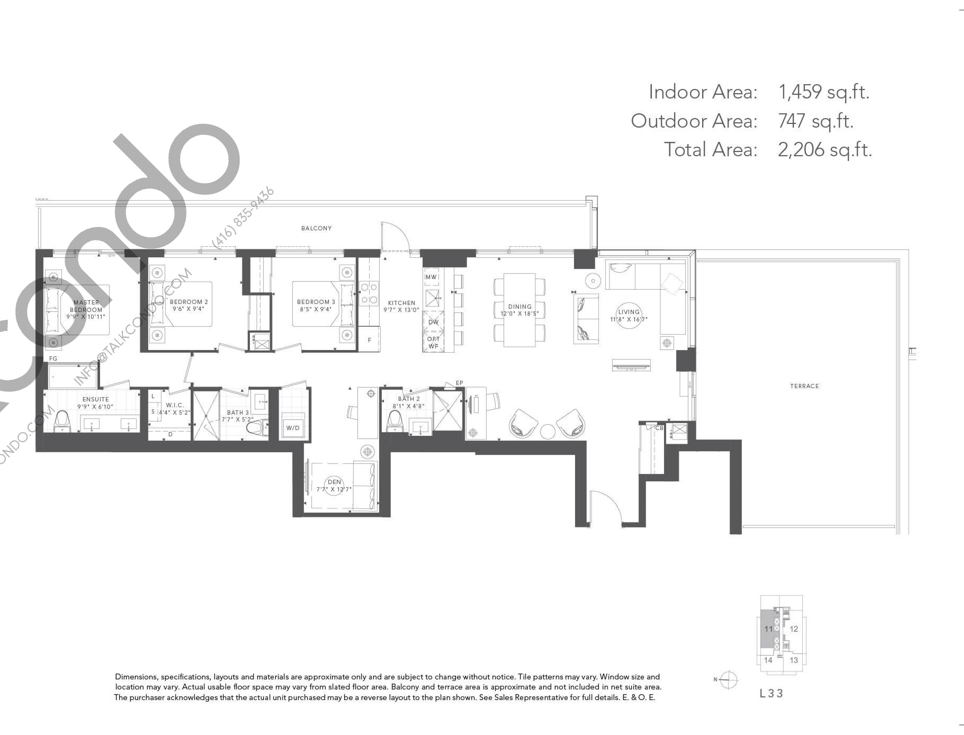 Olive Floor Plan at T1 at M2M Condos - 1459 sq.ft