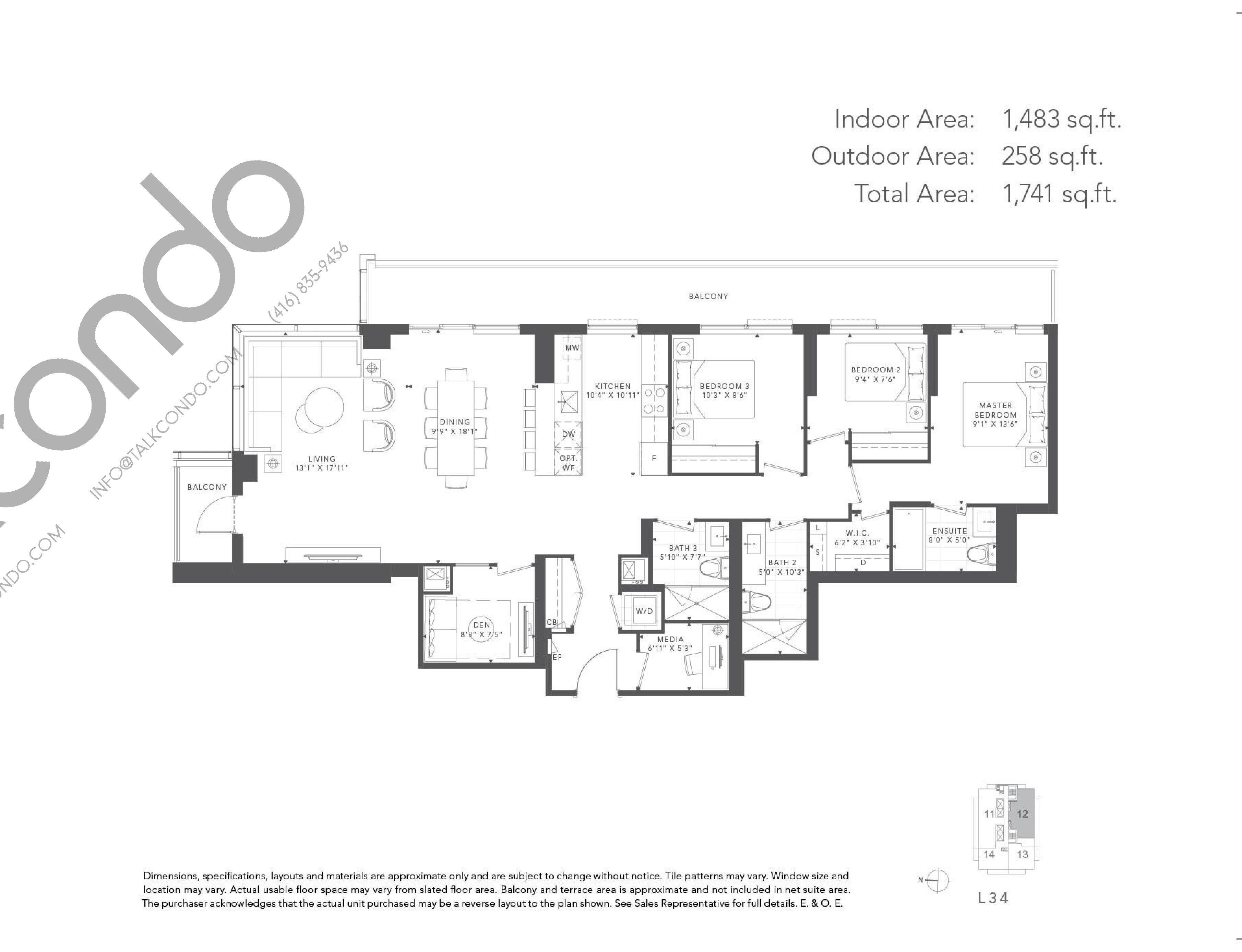Hazel Floor Plan at T1 at M2M Condos - 1483 sq.ft