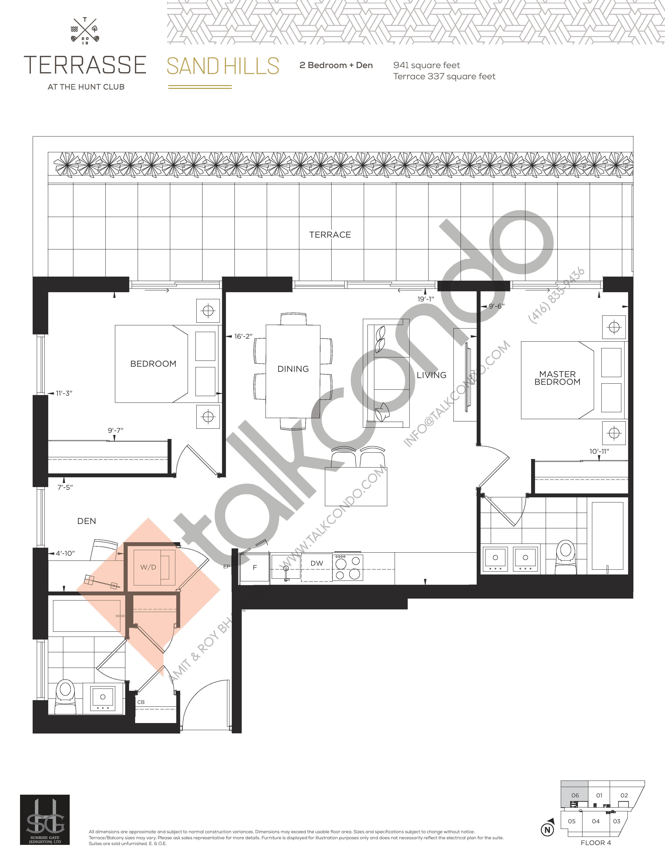 Sandhills Floor Plan at Terrasse Condos at The Hunt Club - 941 sq.ft