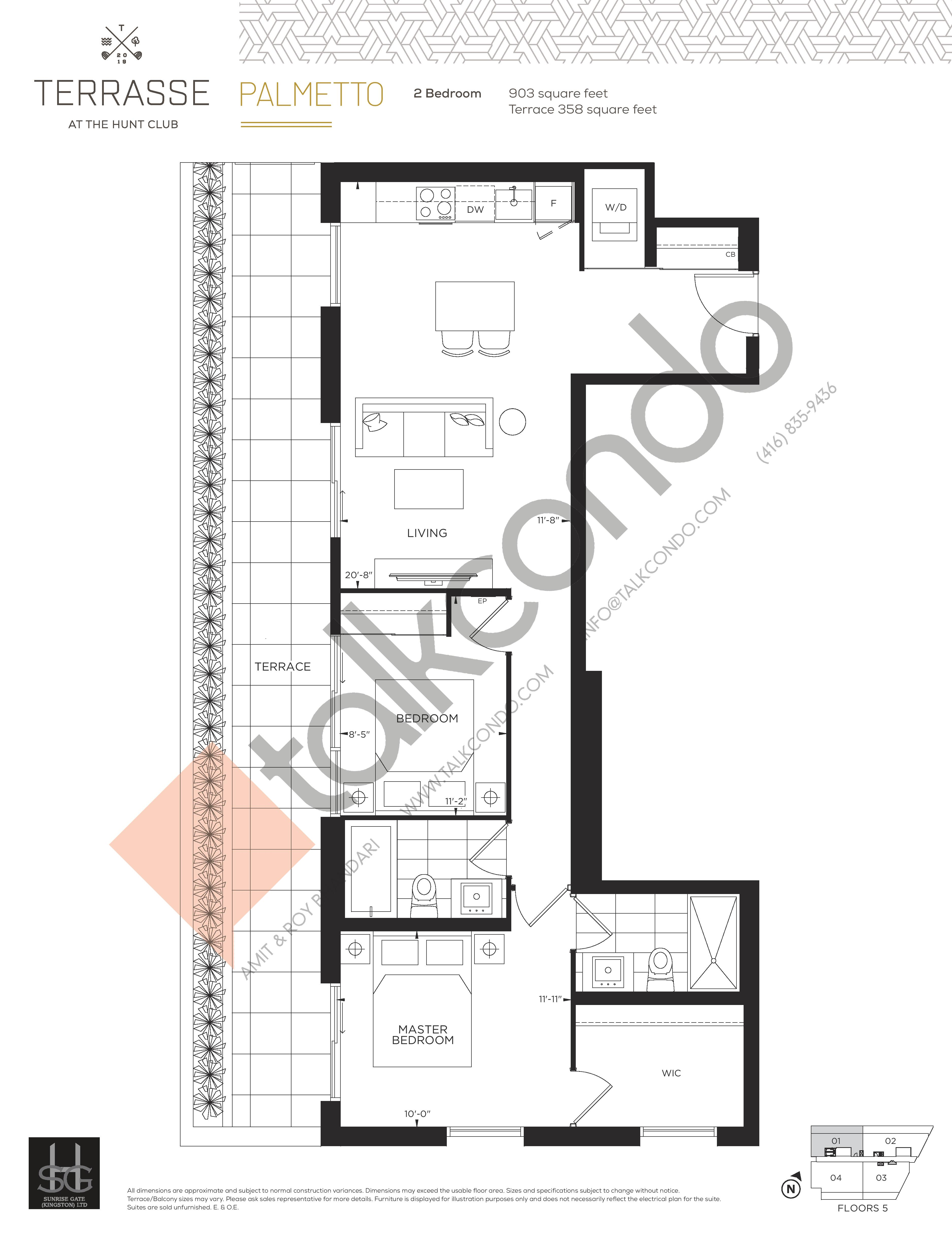 Palmetto Floor Plan at Terrasse Condos at The Hunt Club - 903 sq.ft