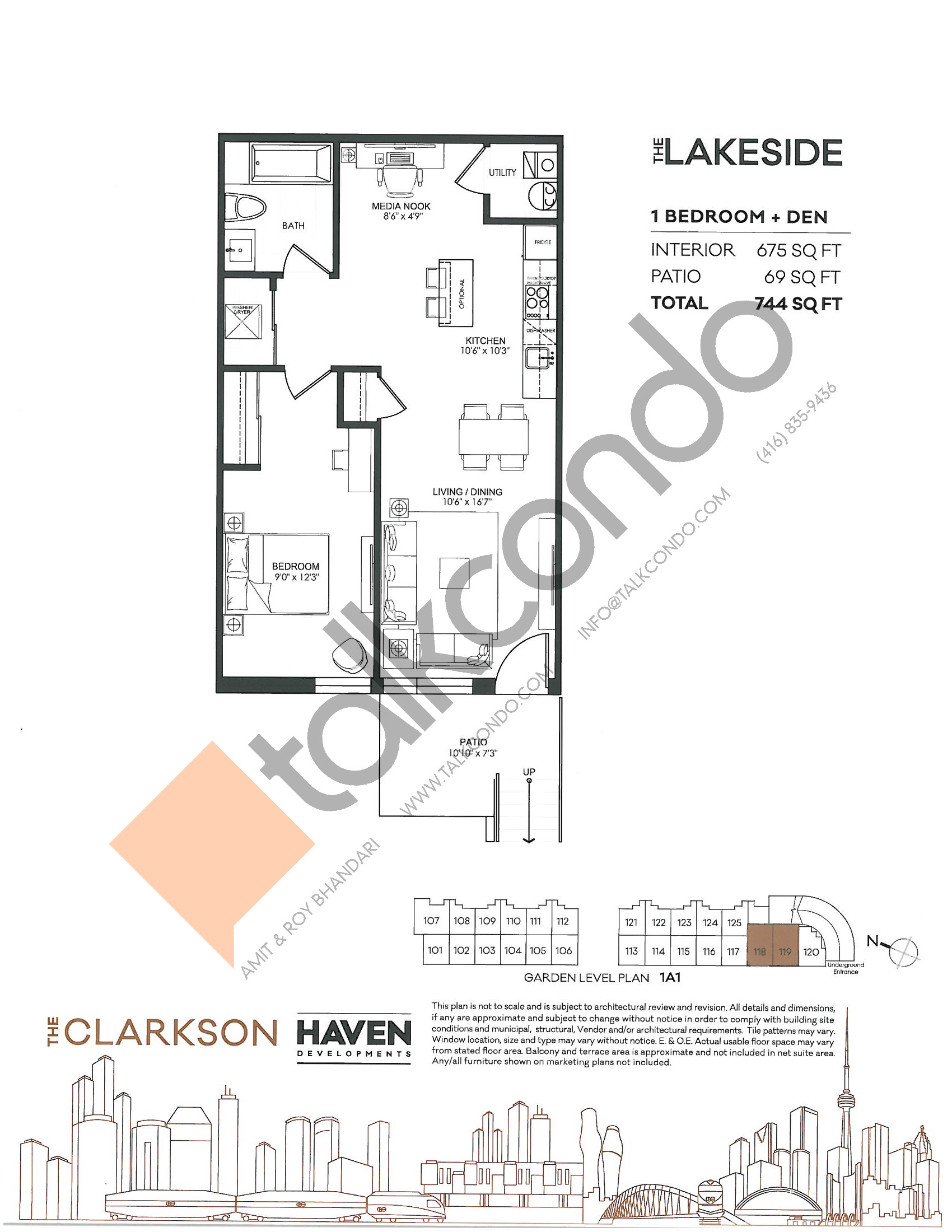 The Lakeside Floor Plan at The Clarkson Urban Towns - 675 sq.ft
