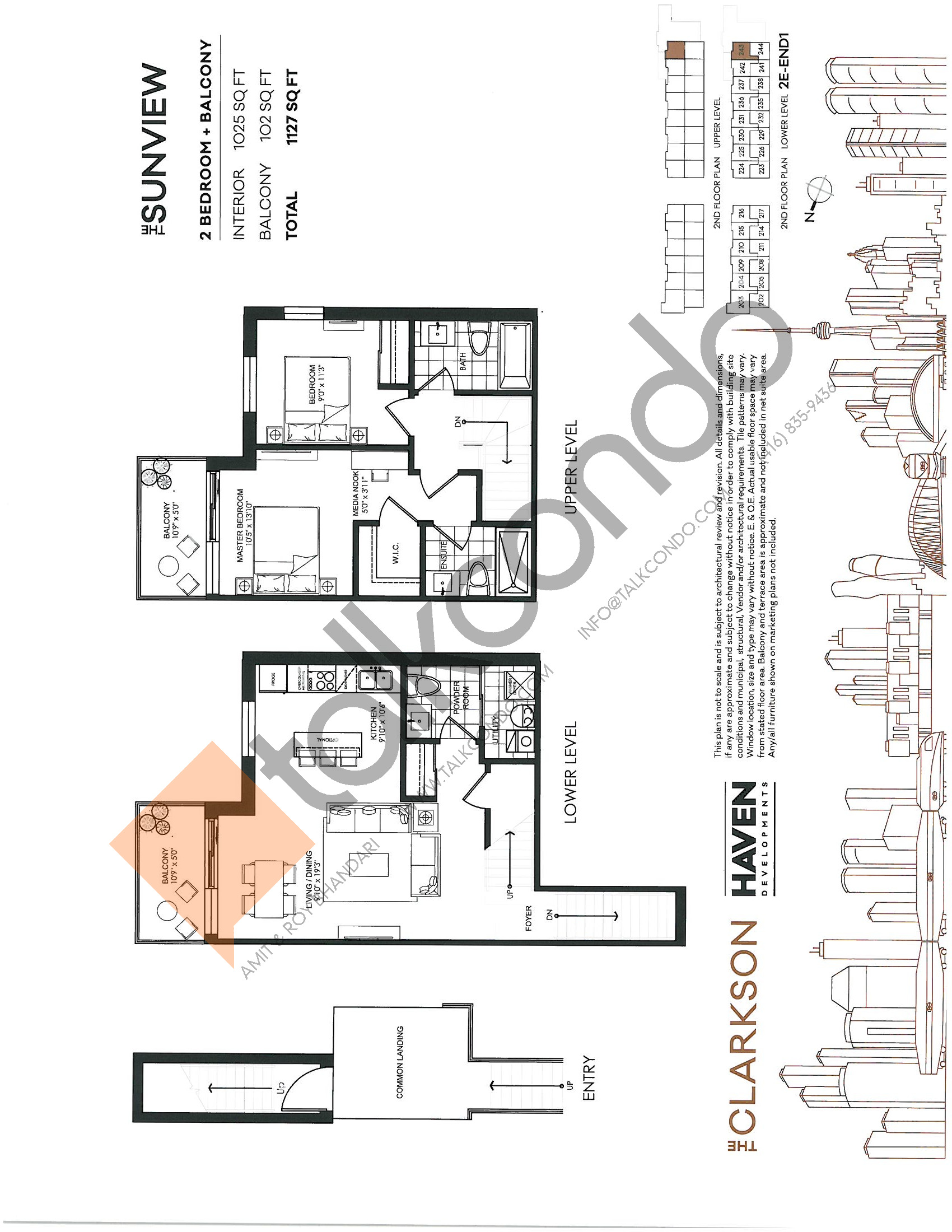 The Sunview Floor Plan at The Clarkson Urban Towns - 1025 sq.ft