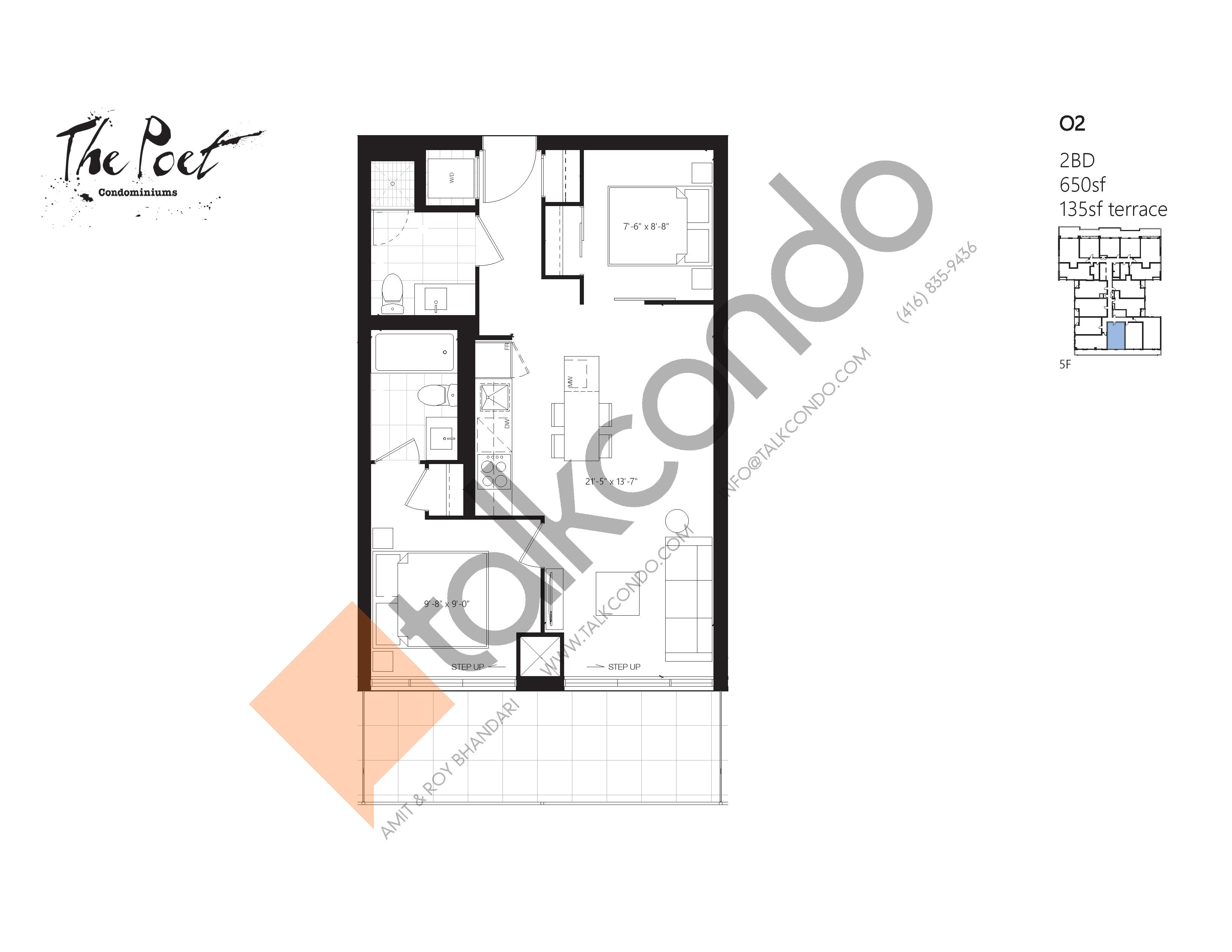 O2 Floor Plan at The Poet Condos - 650 sq.ft