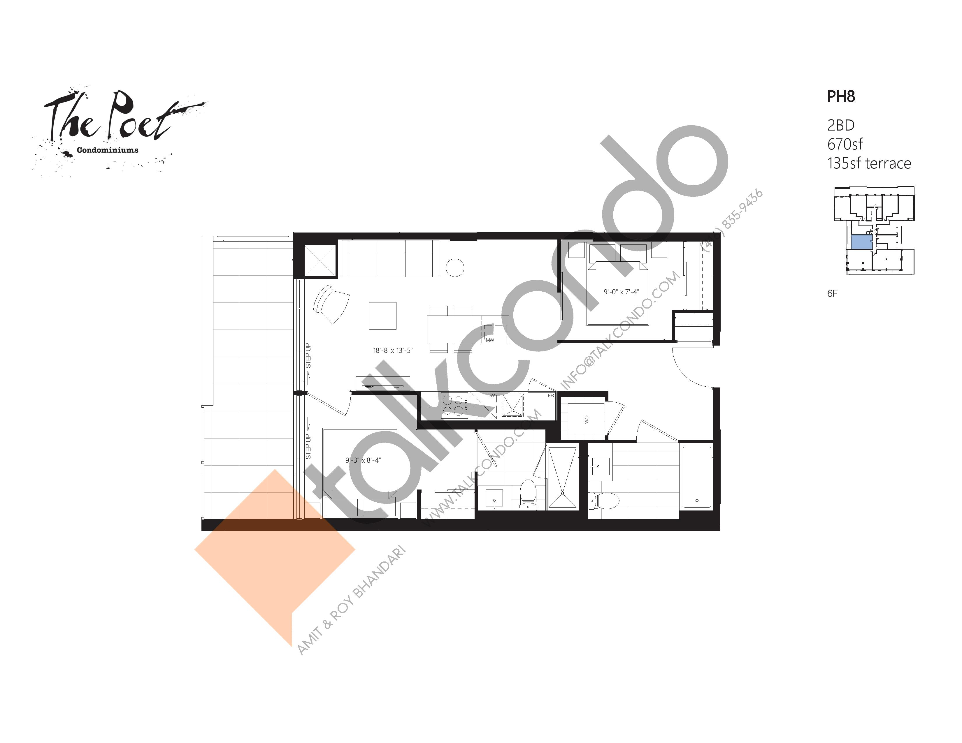 PH8 Floor Plan at The Poet Condos - 670 sq.ft