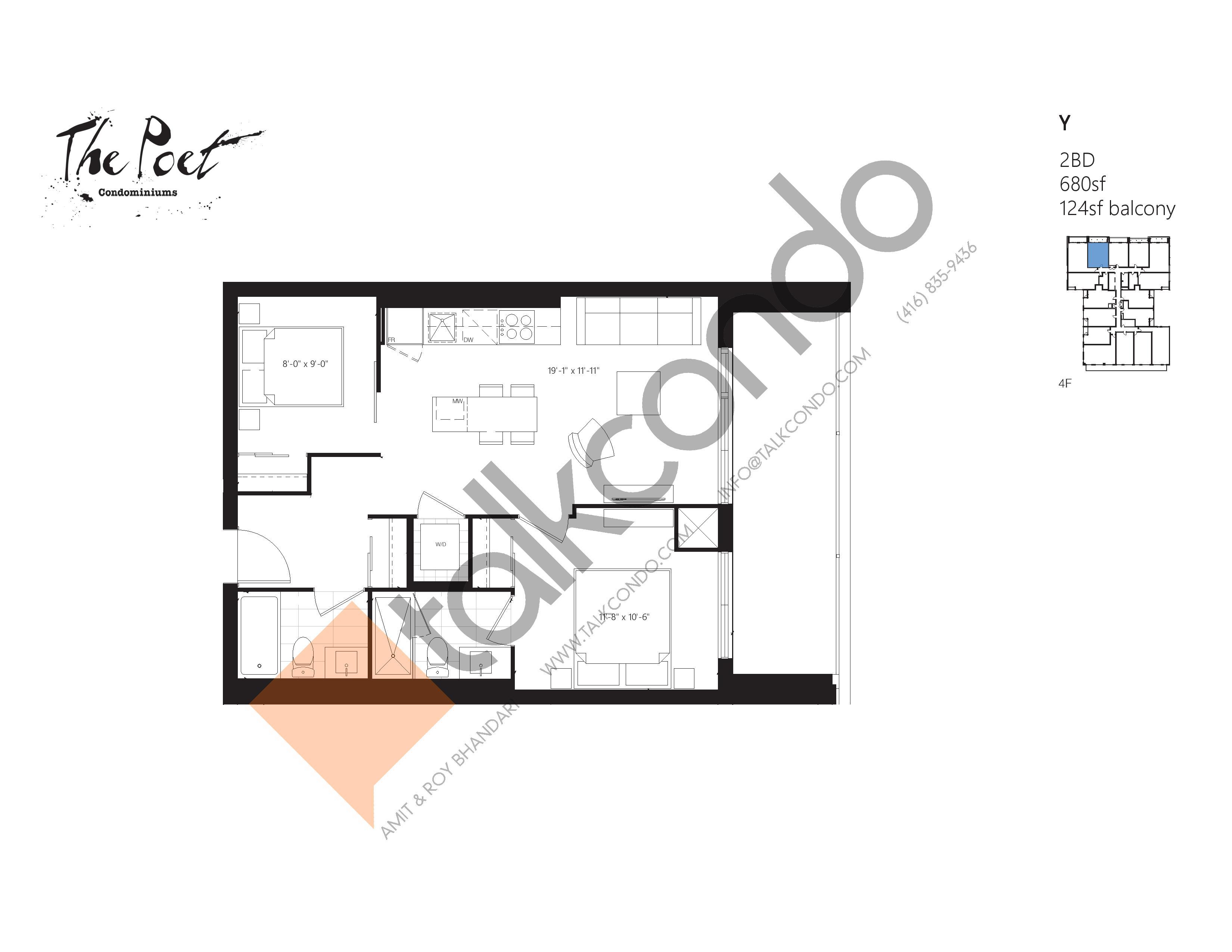 Y Floor Plan at The Poet Condos - 680 sq.ft