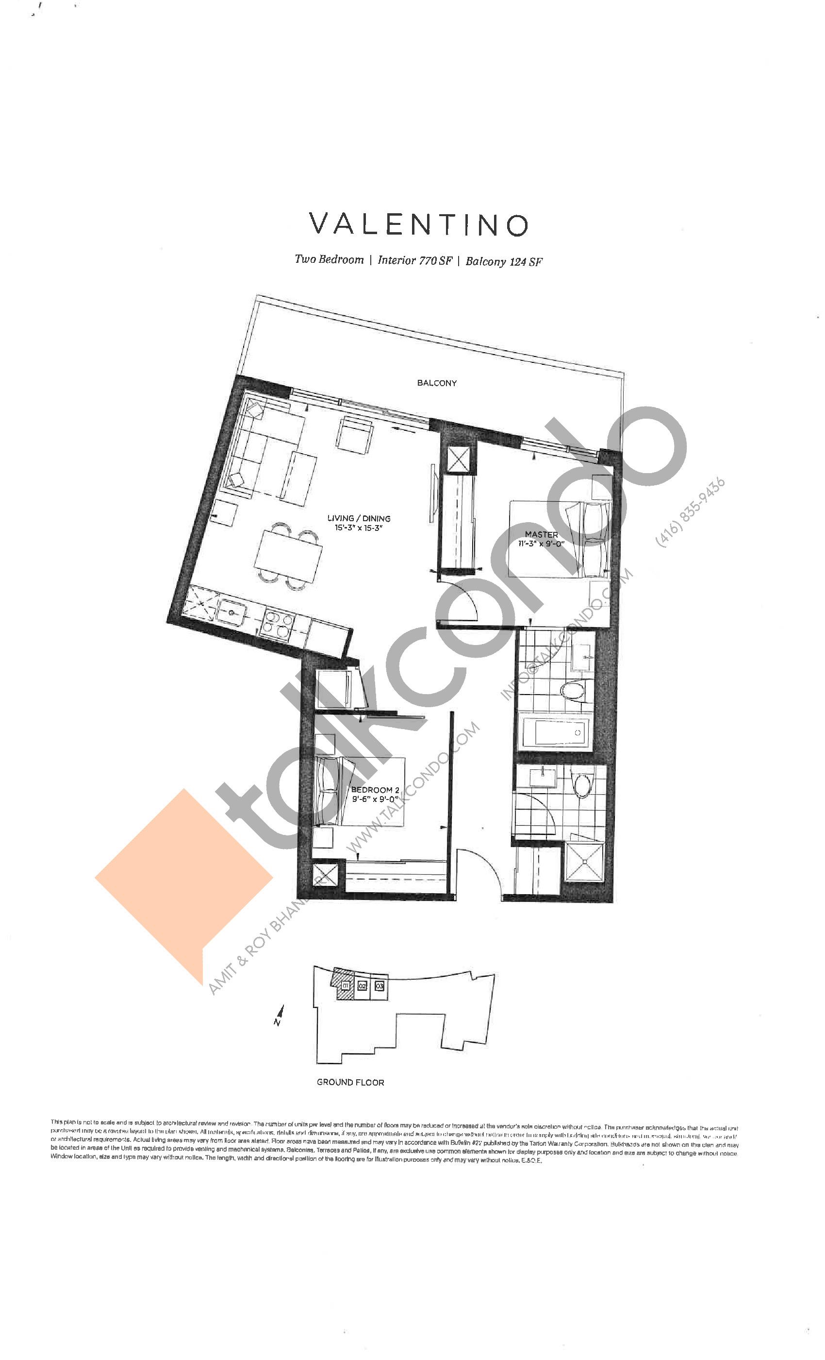 Valentino Floor Plan at The Point at Emerald City Condos - 770 sq.ft
