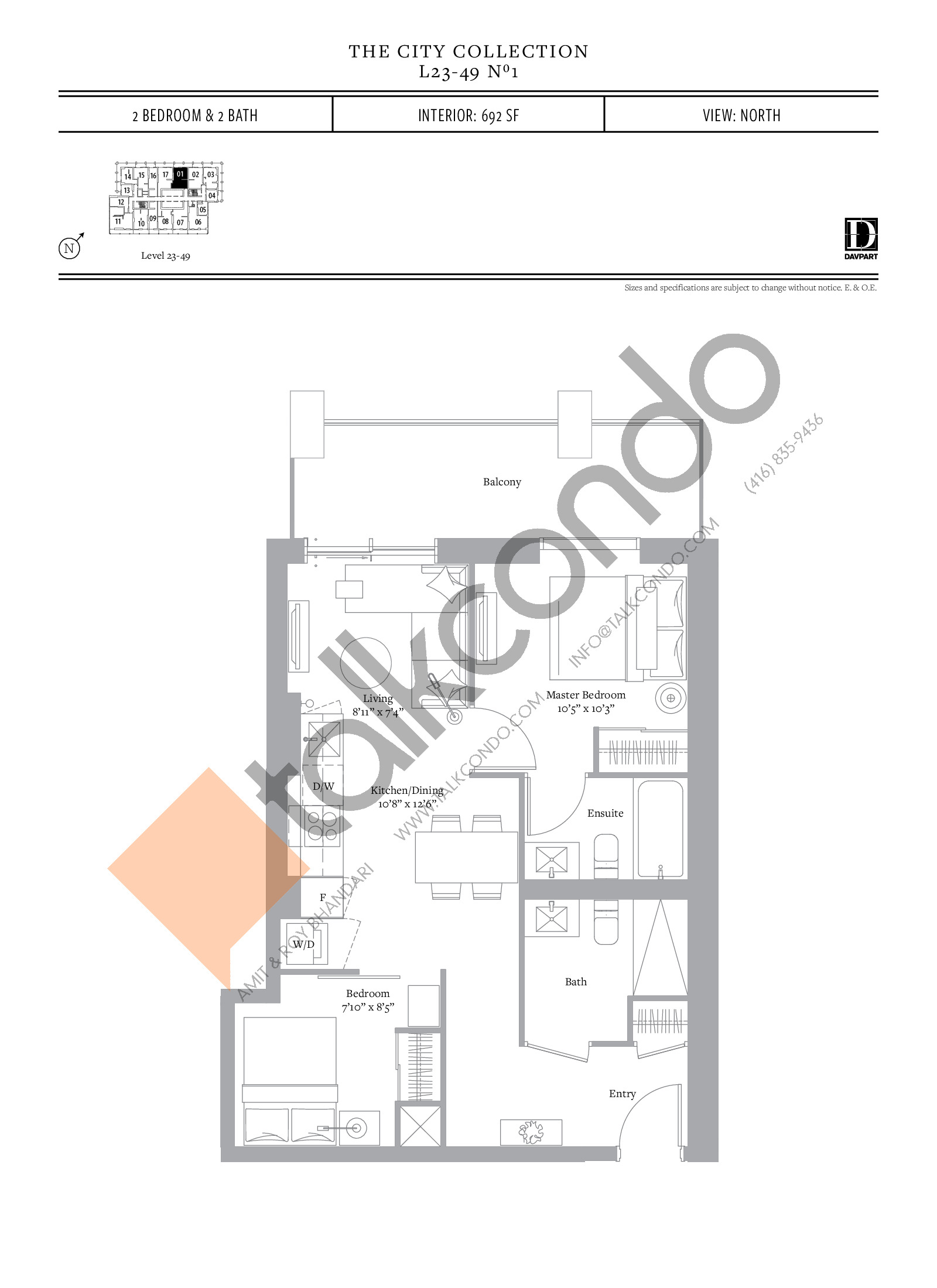 No 1 - The City Collection Floor Plan at The United Bldg. Condos - 692 sq.ft