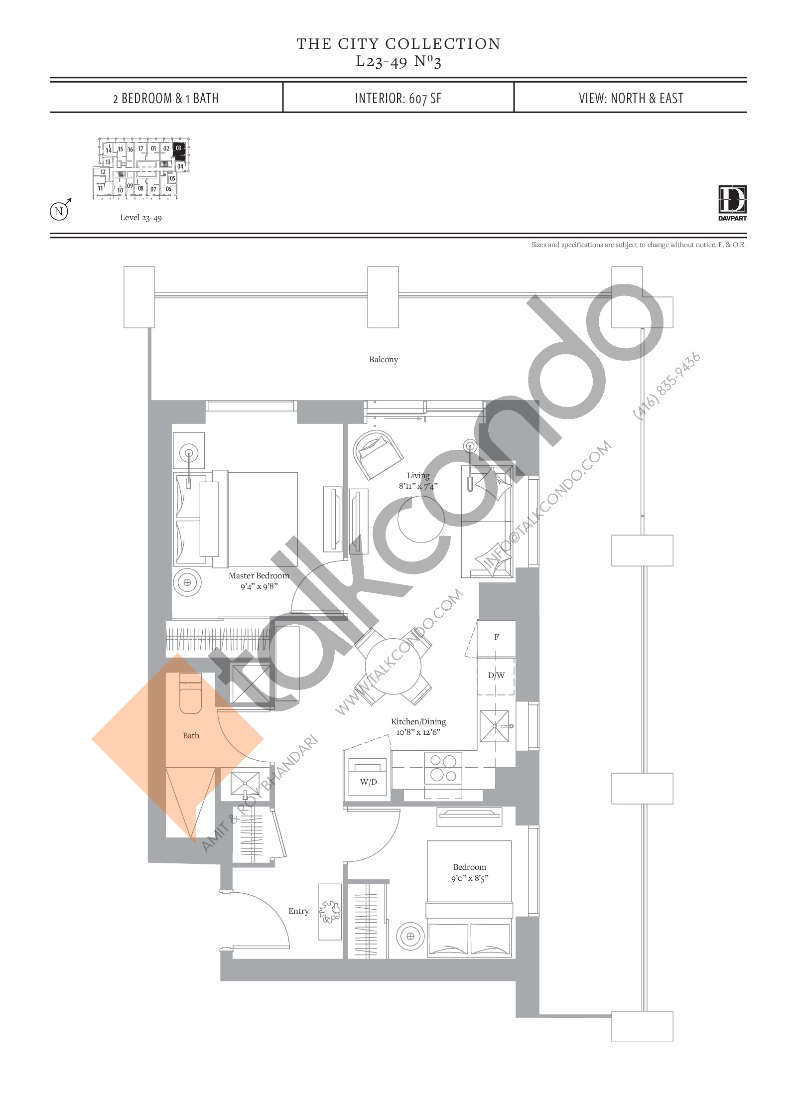 No 3 Floor Plan at The United Bldg. Condos - 607 sq.ft