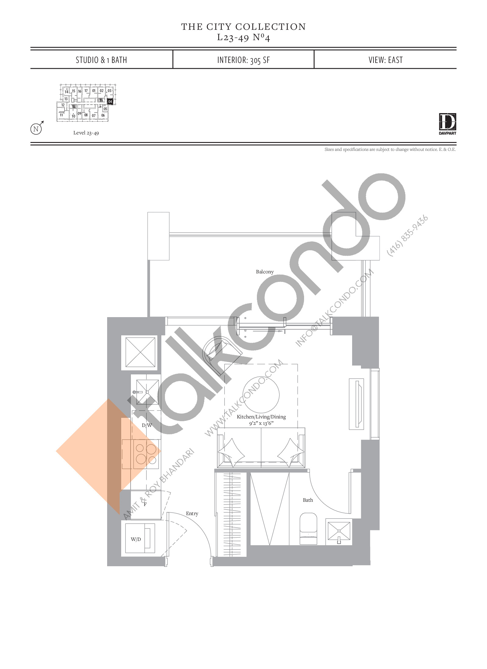 No 4 - The City Collection Floor Plan at The United Bldg. Condos - 305 sq.ft