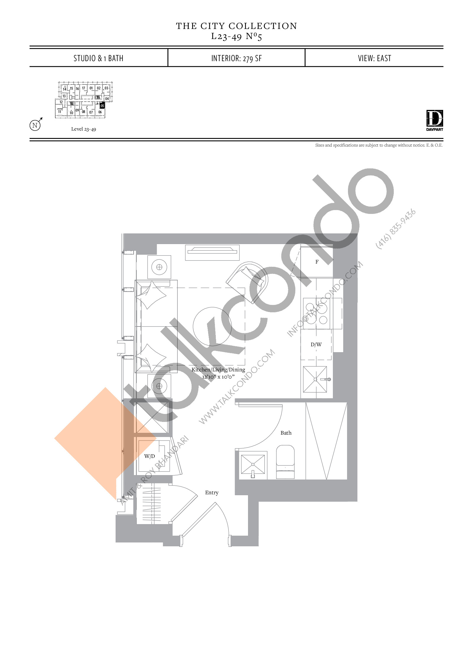 No 5 - The City Collection Floor Plan at The United Bldg. Condos - 279 sq.ft