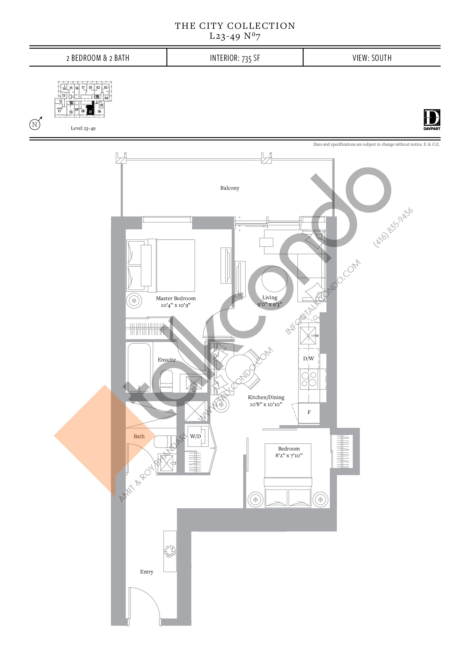 No 7 - The City Collection Floor Plan at The United Bldg. Condos - 735 sq.ft