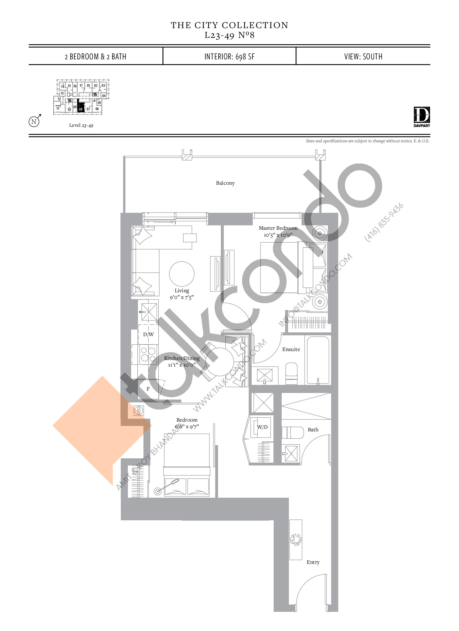 No 8 - The City Collection Floor Plan at The United Bldg. Condos - 698 sq.ft