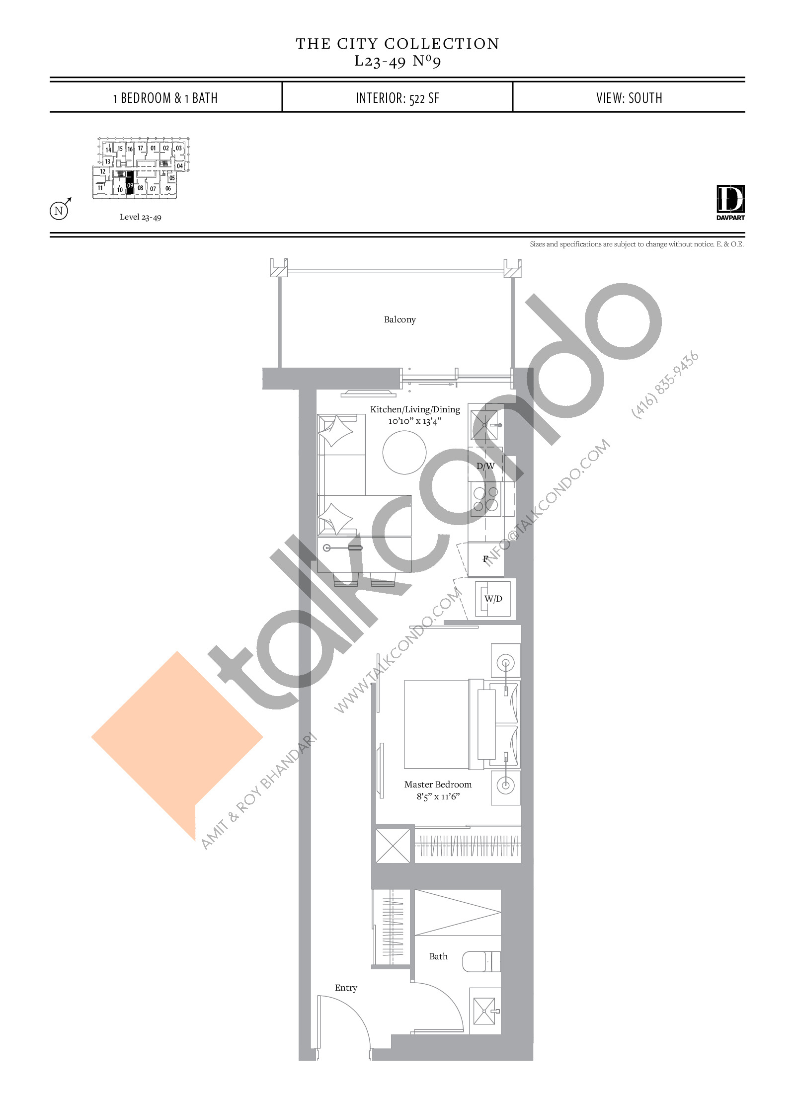 No 9 - The City Collection Floor Plan at The United Bldg. Condos - 522 sq.ft
