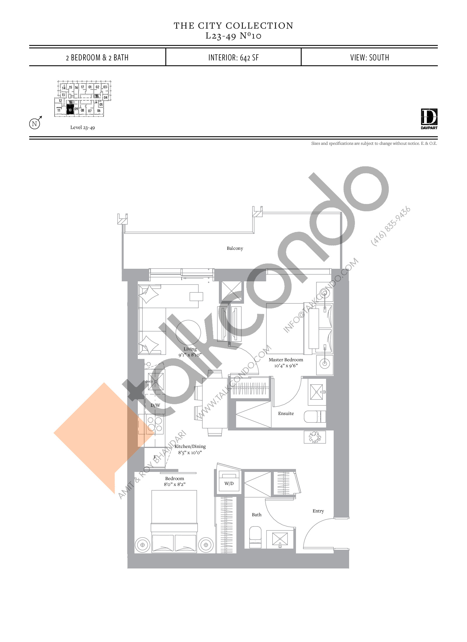 No 10 - The City Collection Floor Plan at The United Bldg. Condos - 642 sq.ft