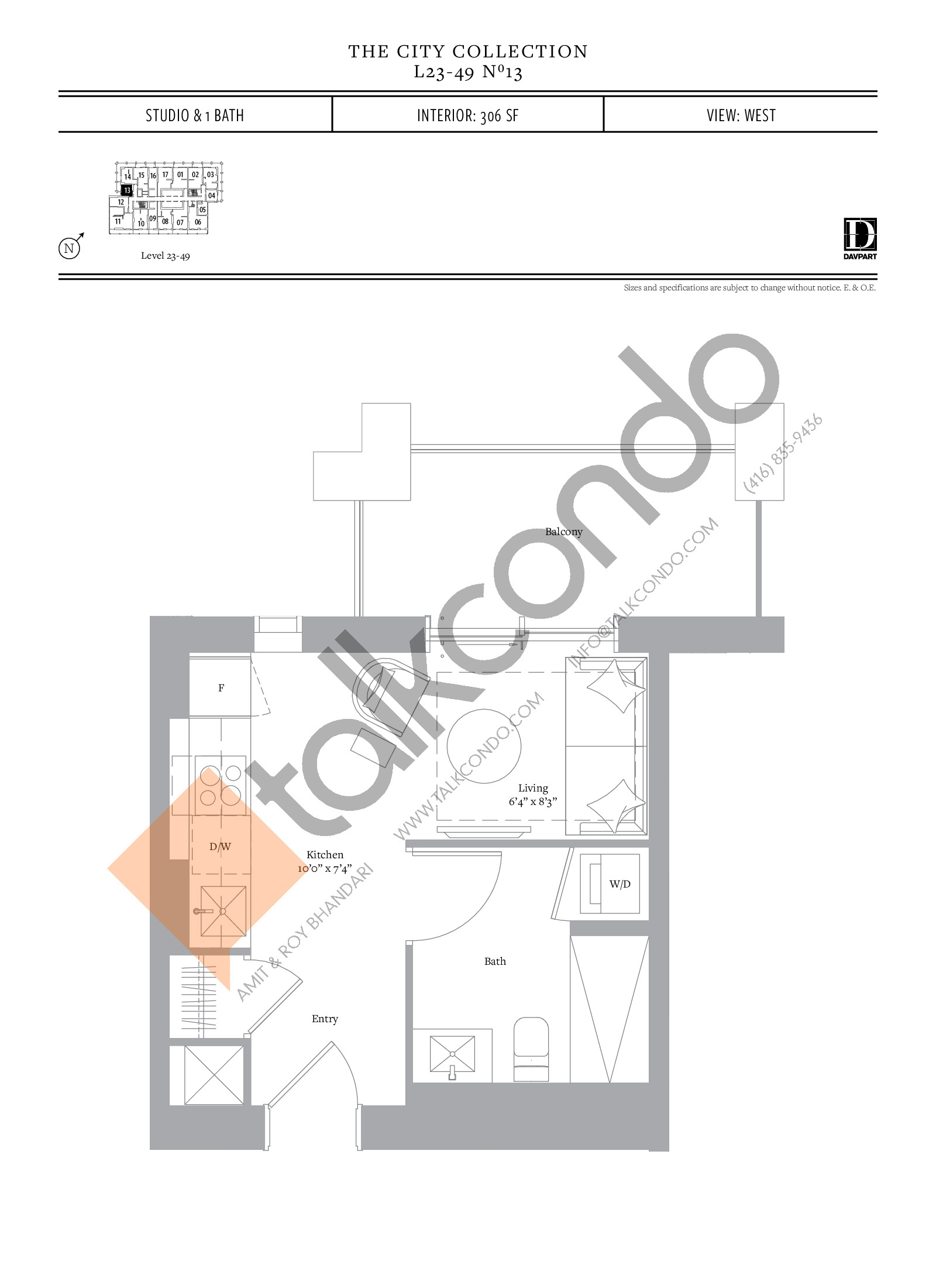 No 13 - The City Collection Floor Plan at The United Bldg. Condos - 306 sq.ft