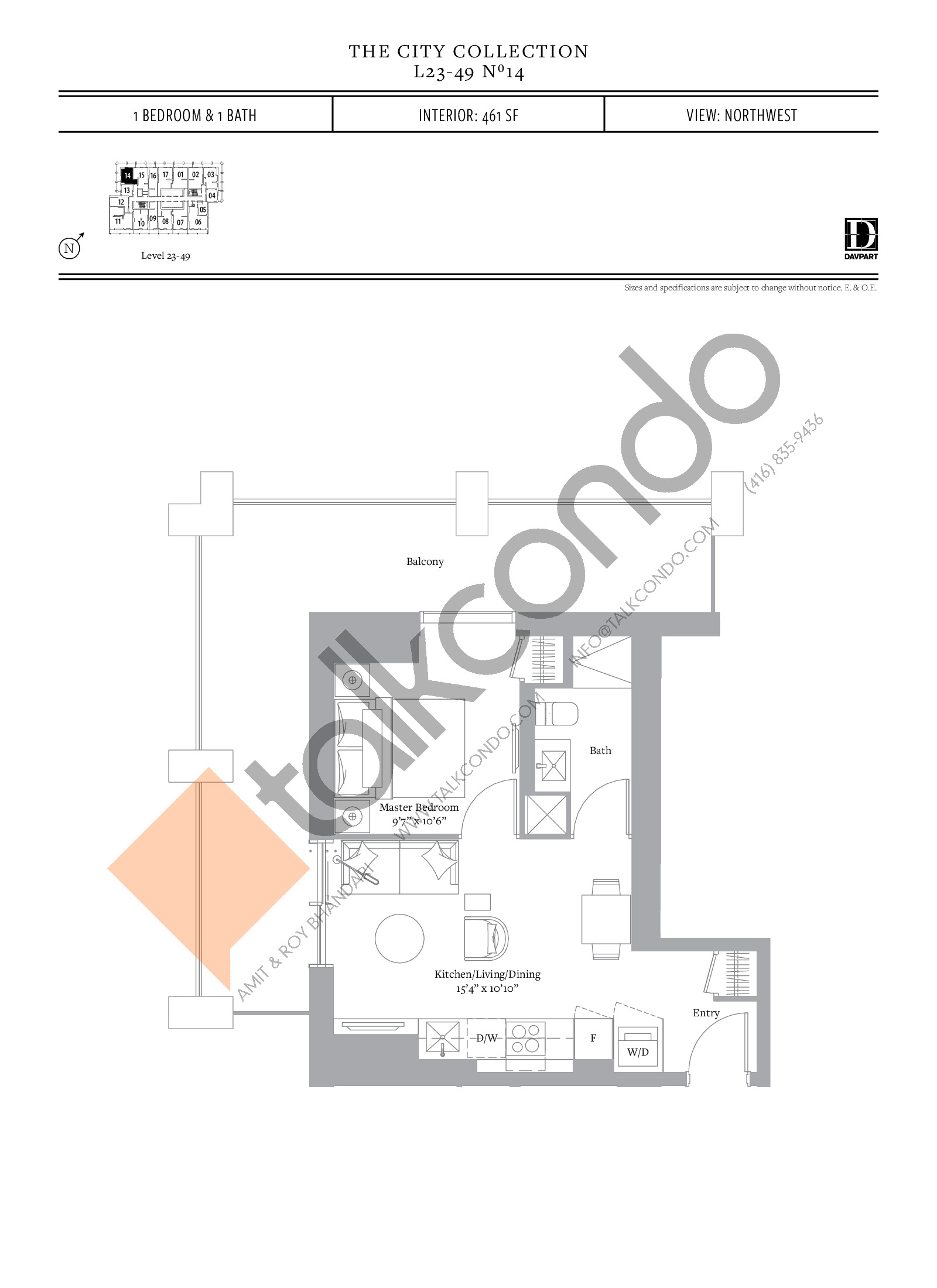 No 14 - The City Collection Floor Plan at The United Bldg. Condos - 461 sq.ft
