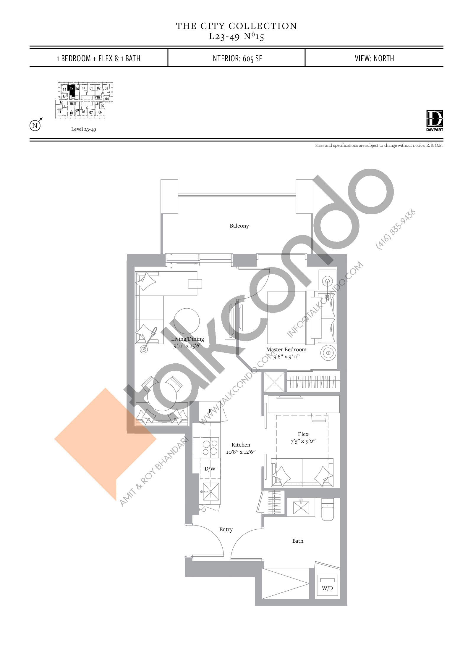 No 15 Floor Plan at The United Bldg. Condos - 605 sq.ft