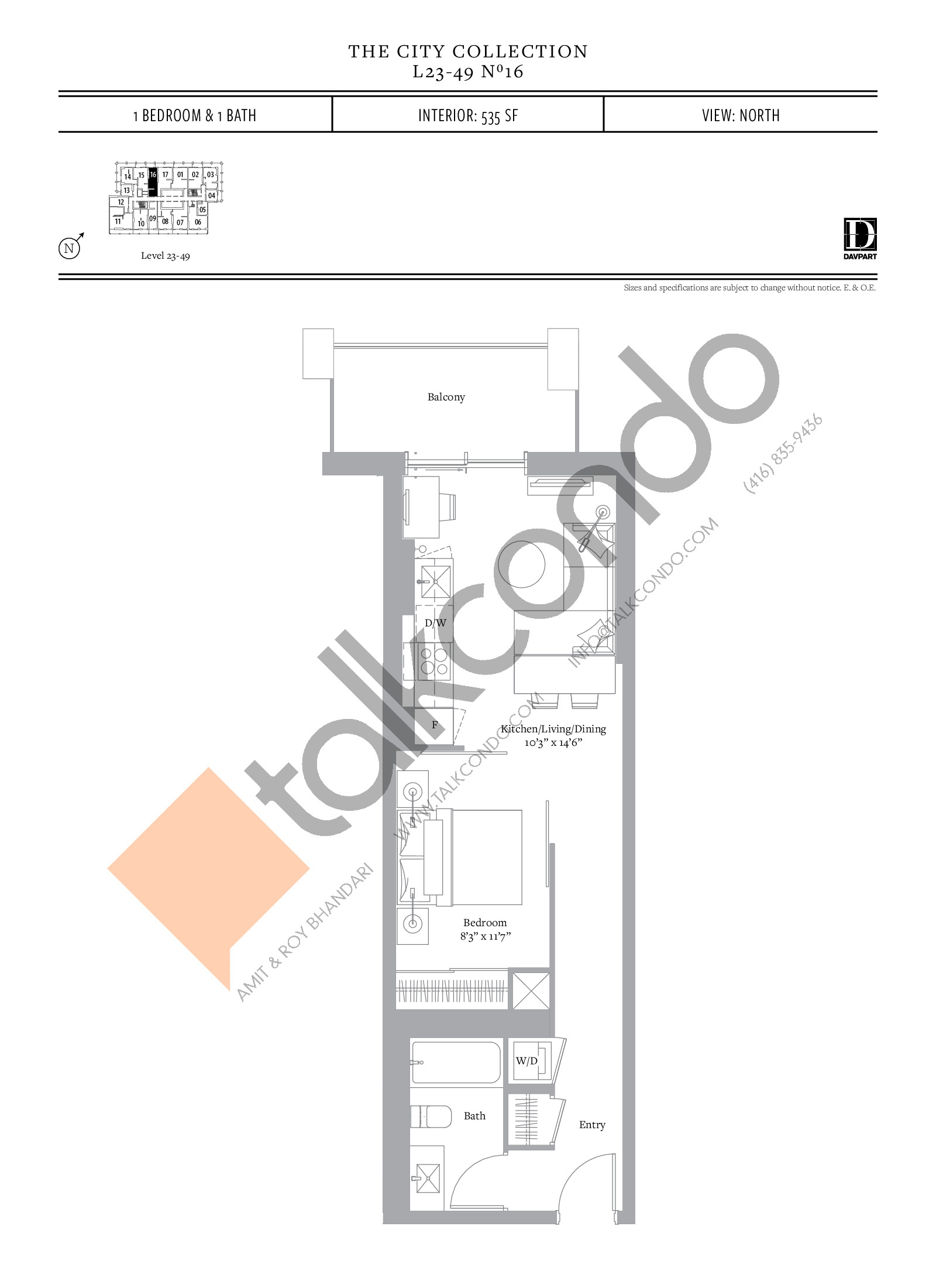 No 16 - The City Collection Floor Plan at The United Bldg. Condos - 535 sq.ft