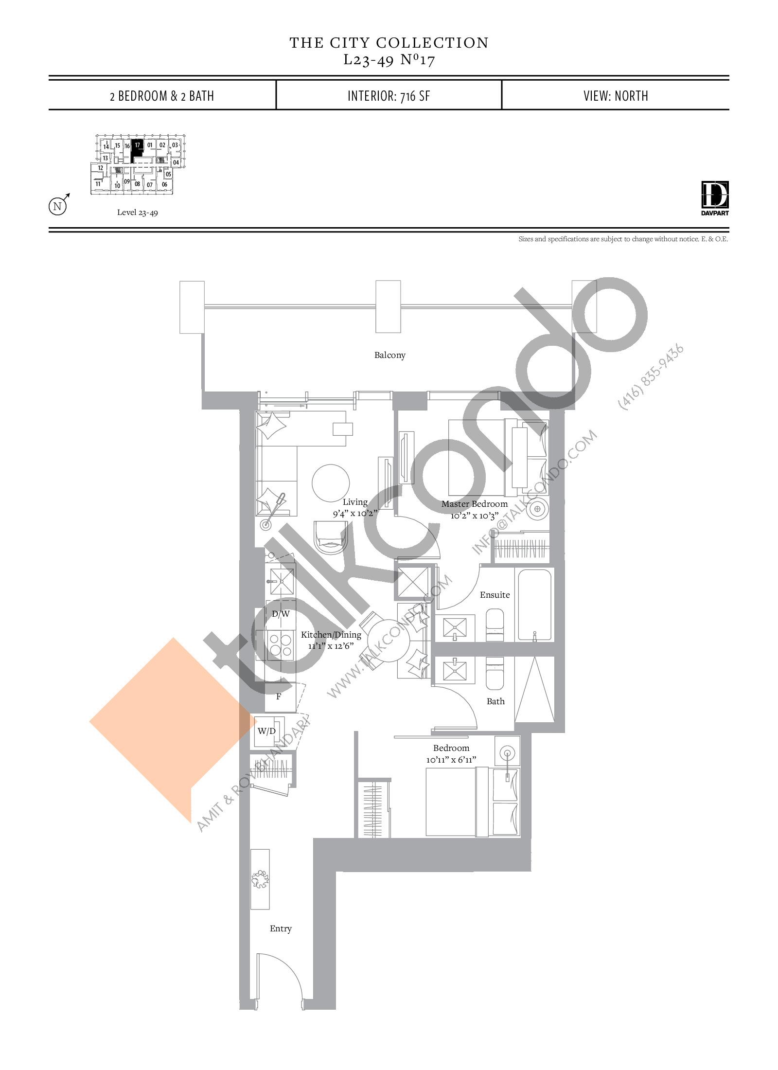 No 17 Floor Plan at The United Bldg. Condos - 716 sq.ft