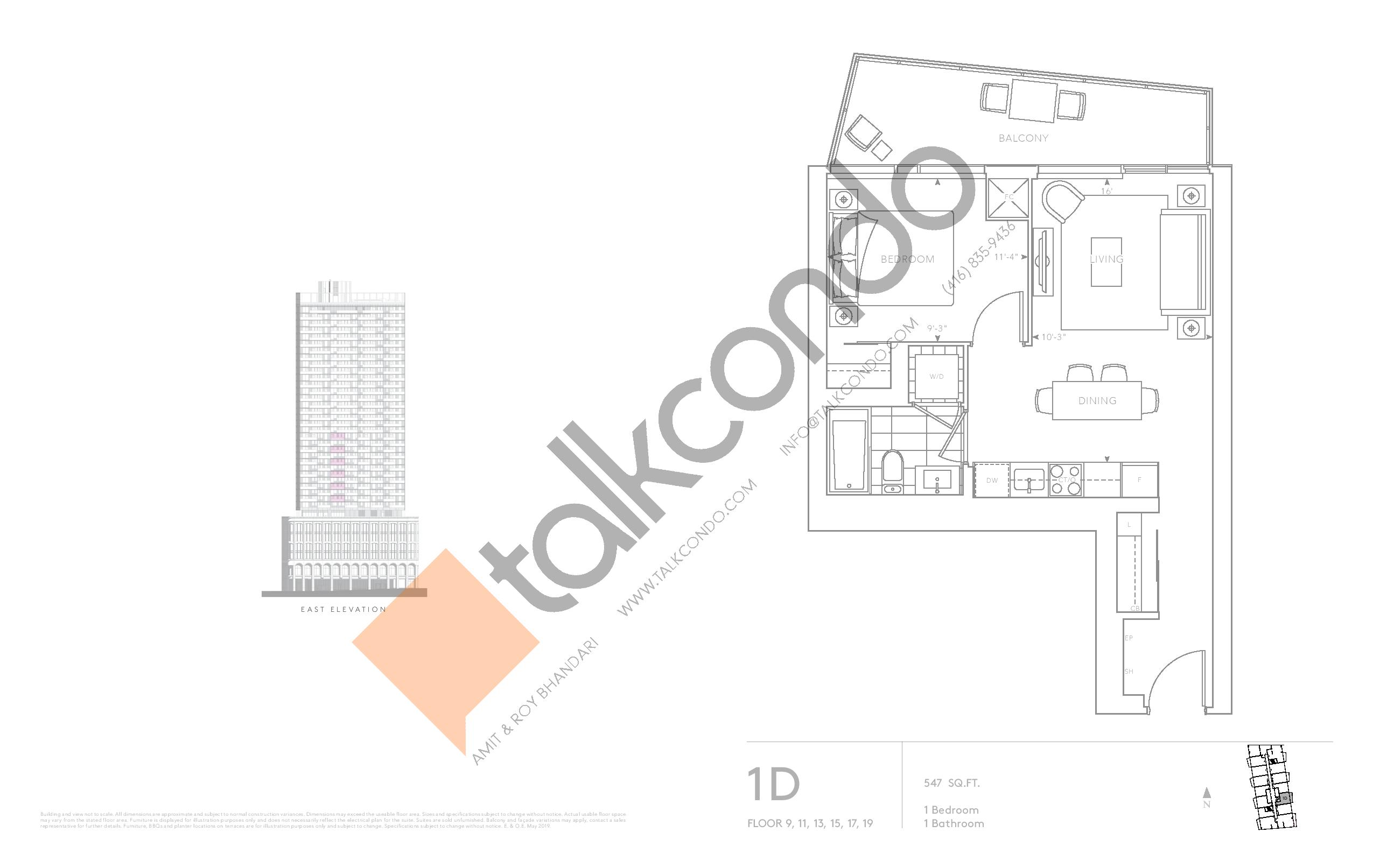 1D - Classic Series Floor Plan at Tridel at The Well Condos - 547 sq.ft