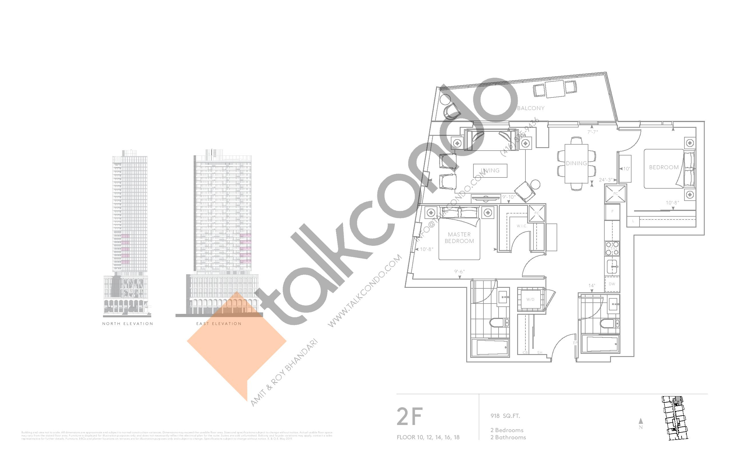 2F - Classic Series Floor Plan at Tridel at The Well Condos - 918 sq.ft