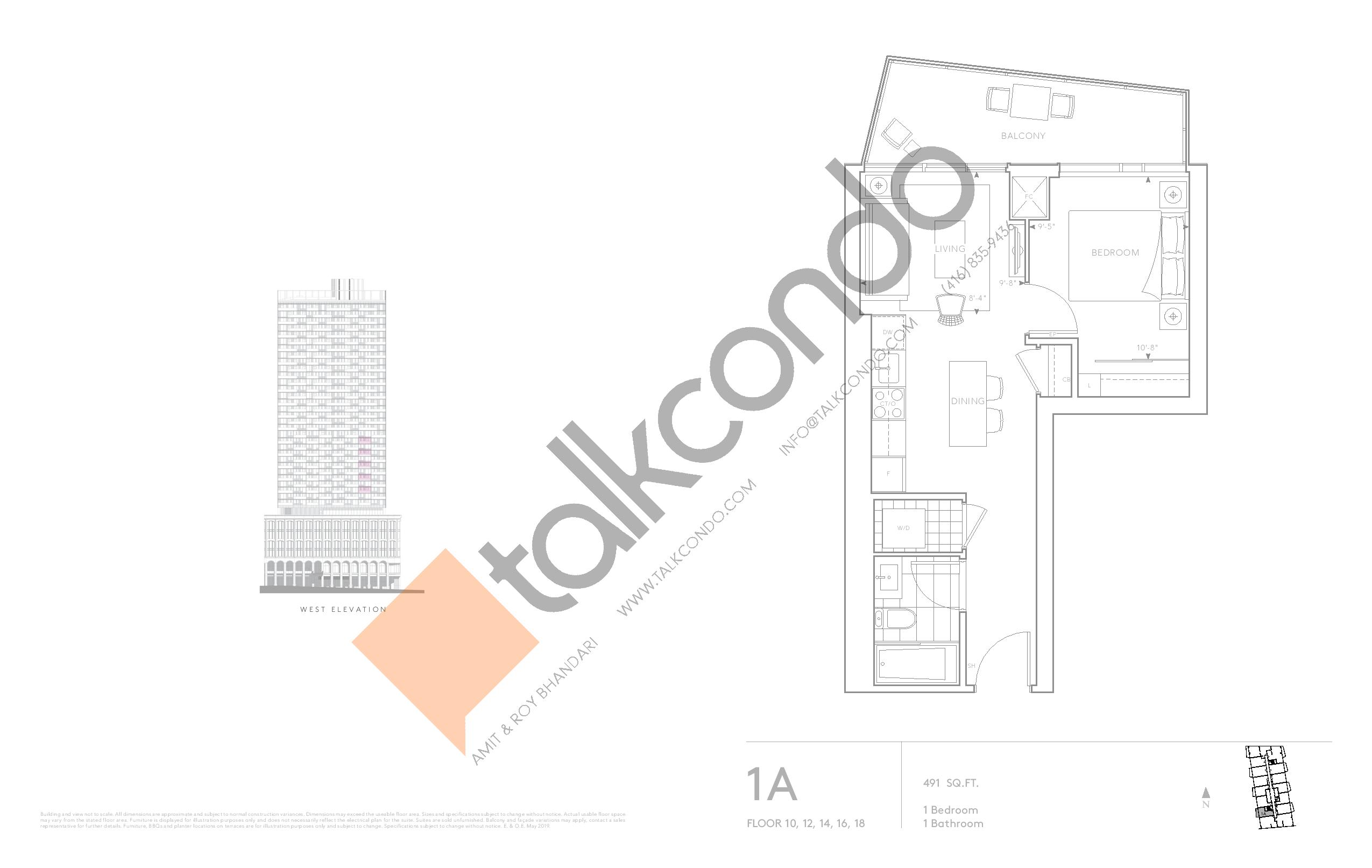 1A - Classic Series Floor Plan at Tridel at The Well Condos - 491 sq.ft