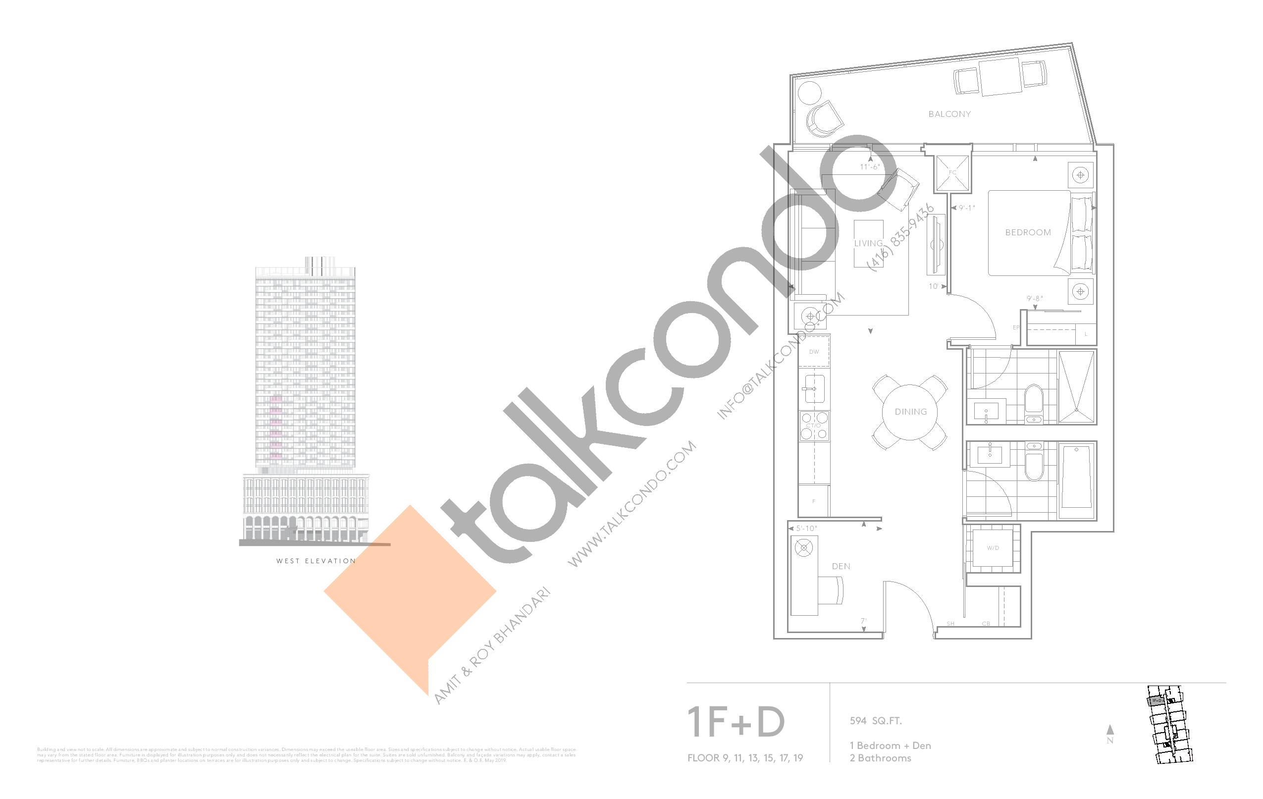 1F+D - Classic Series Floor Plan at Tridel at The Well Condos - 594 sq.ft