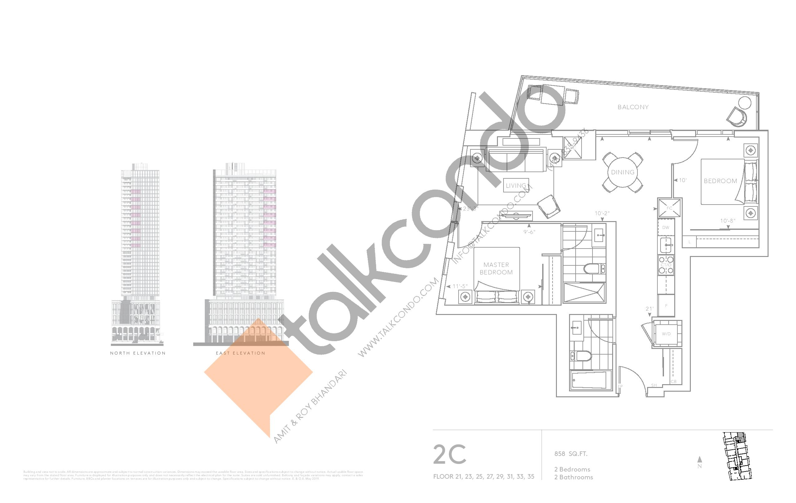2C - Classic Series Floor Plan at Tridel at The Well Condos - 858 sq.ft
