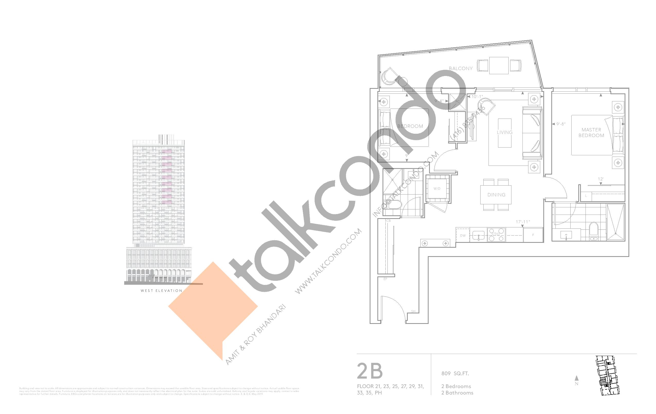 2B - Classic Series Floor Plan at Tridel at The Well Condos - 809 sq.ft