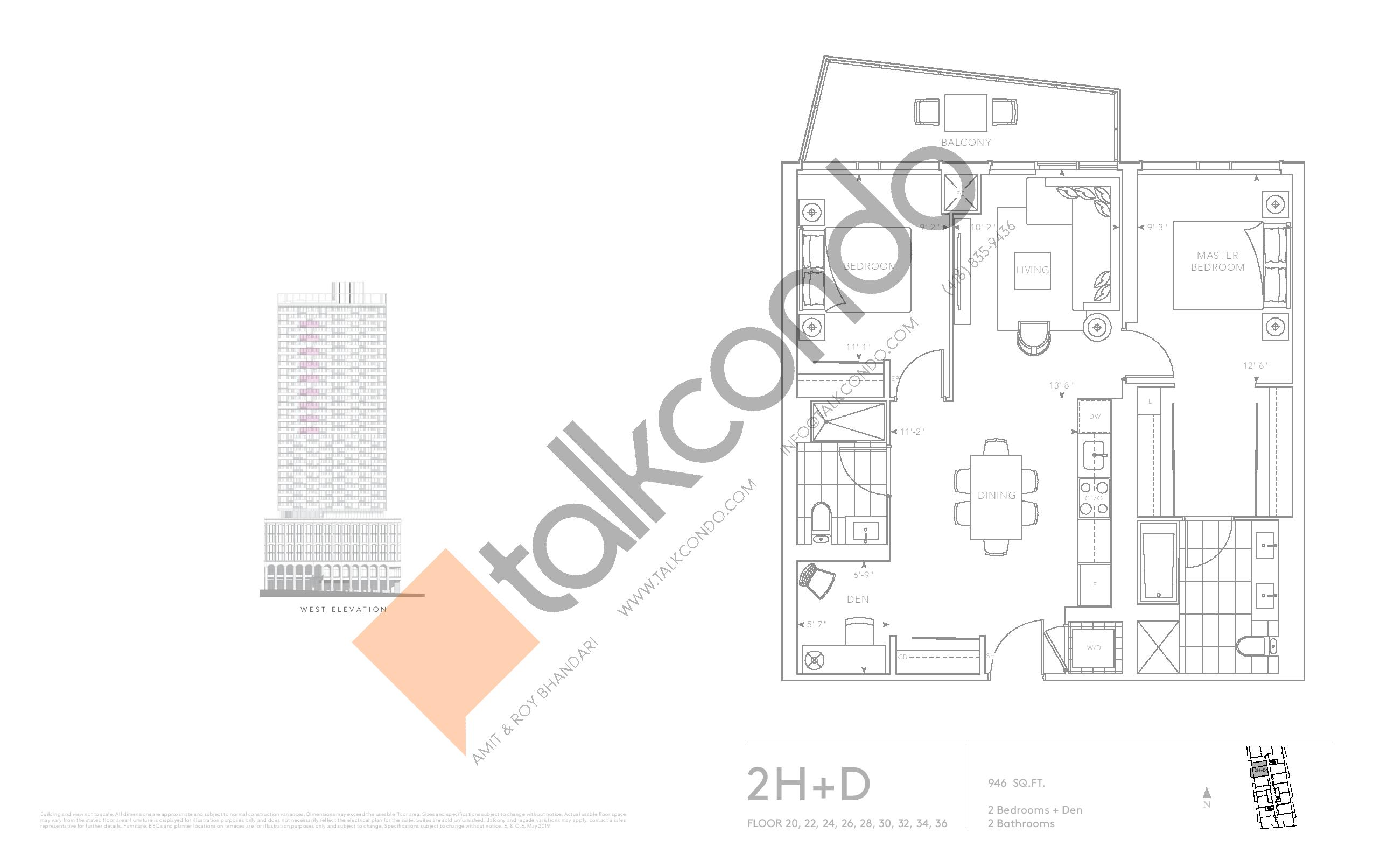 2H+D - Classic Series Floor Plan at Tridel at The Well Condos - 946 sq.ft