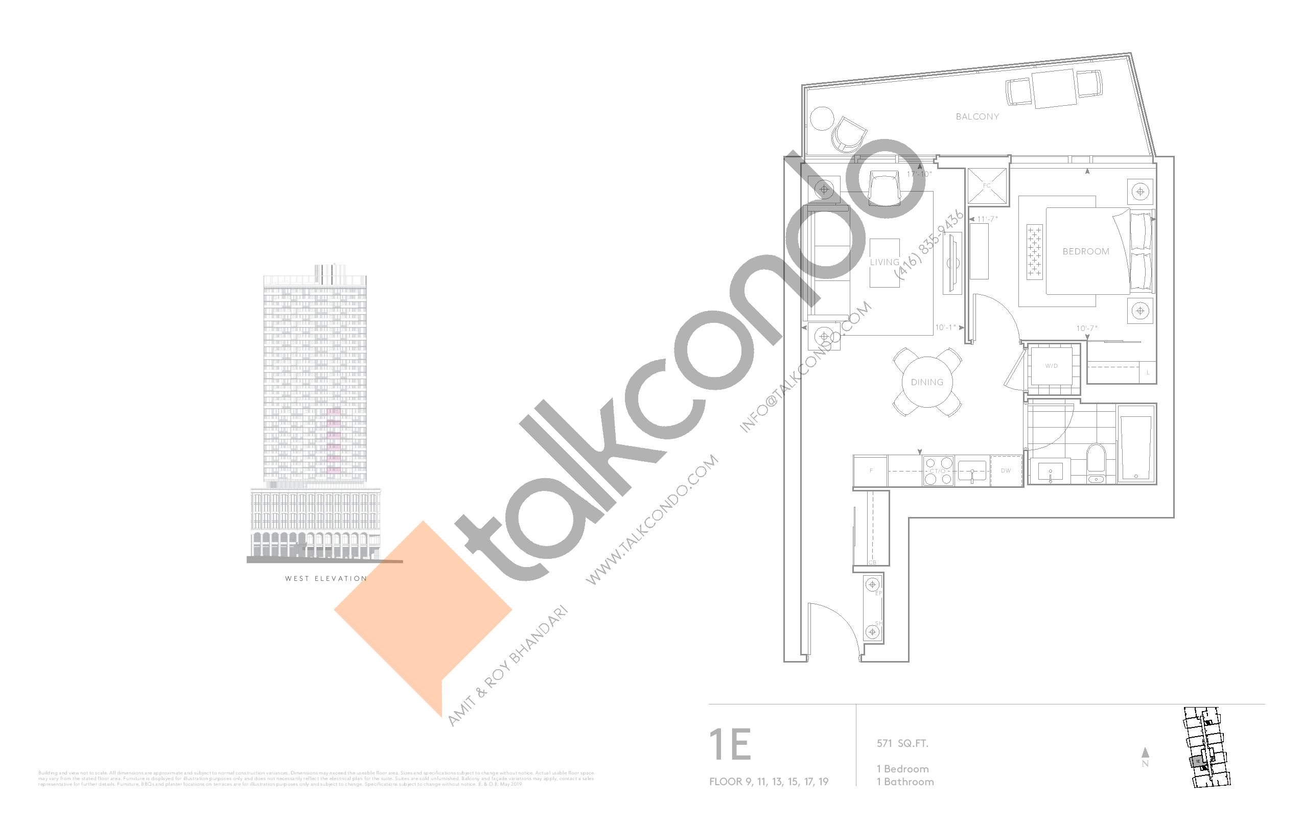 1E - Classic Series Floor Plan at Tridel at The Well Condos - 571 sq.ft